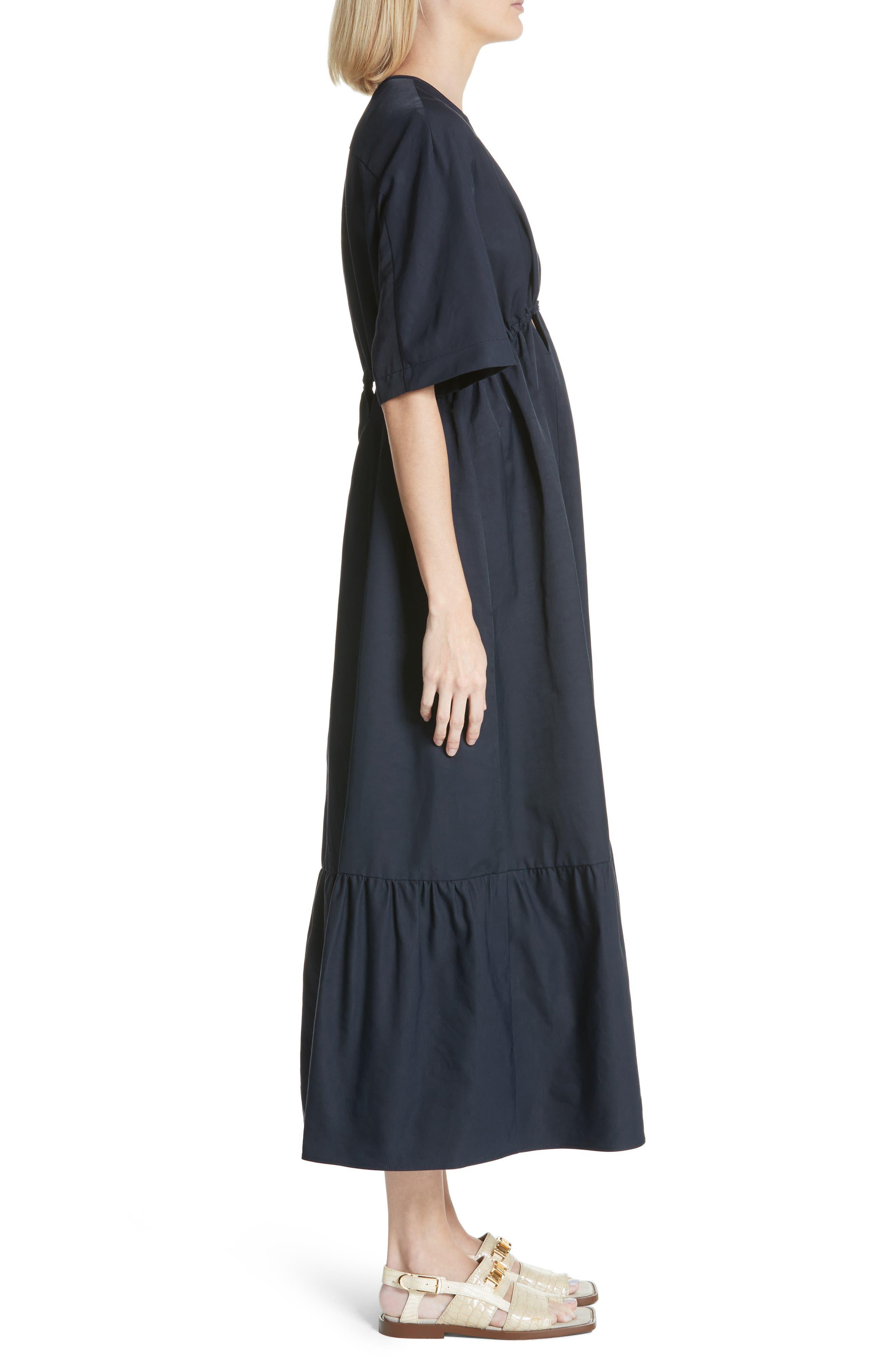Plunging Cutout Maxi Dress,                             Alternate thumbnail 3, color,                             Ink