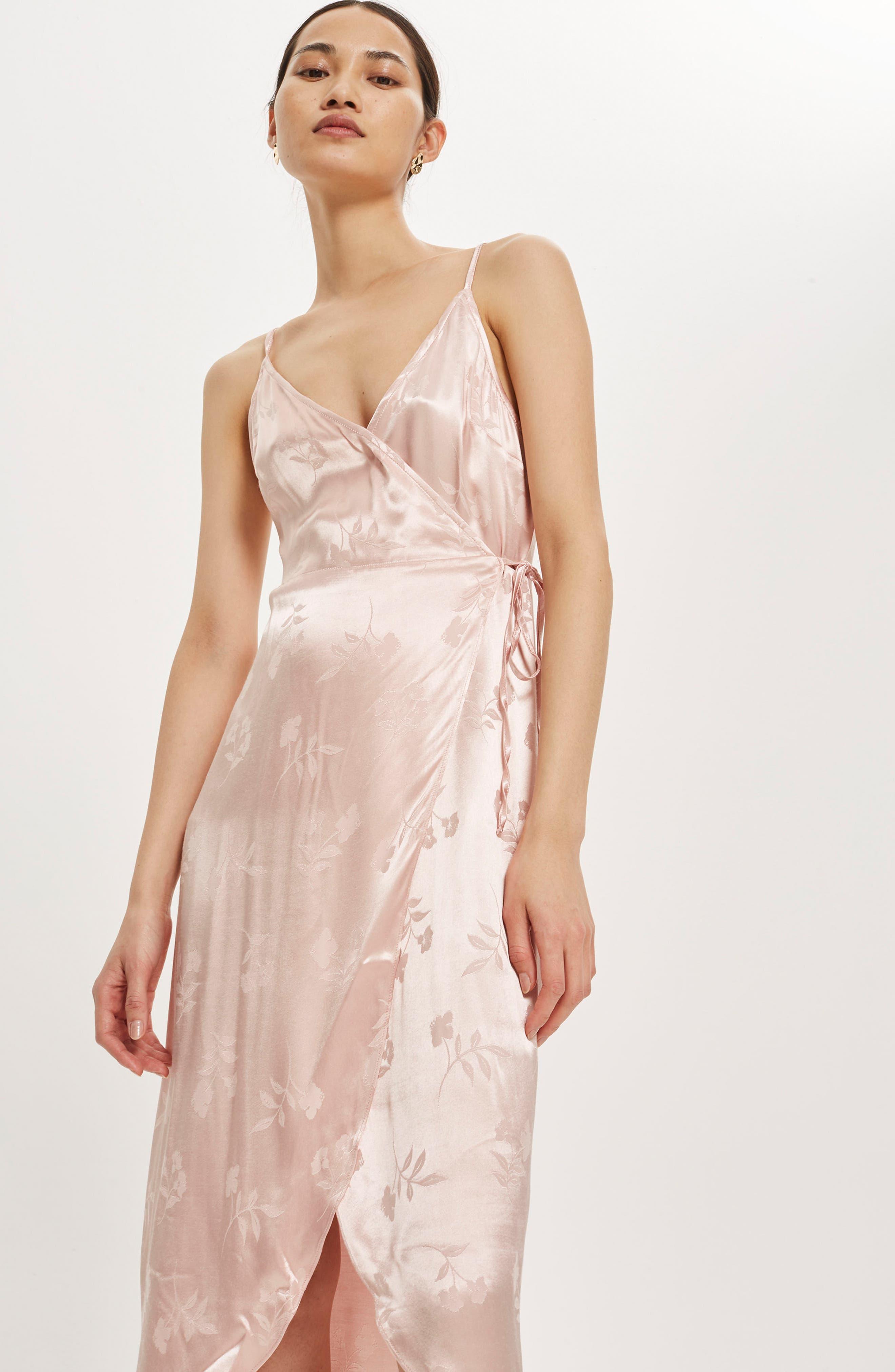 Jacquard Plunge Neck Wrap Dress,                             Alternate thumbnail 2, color,