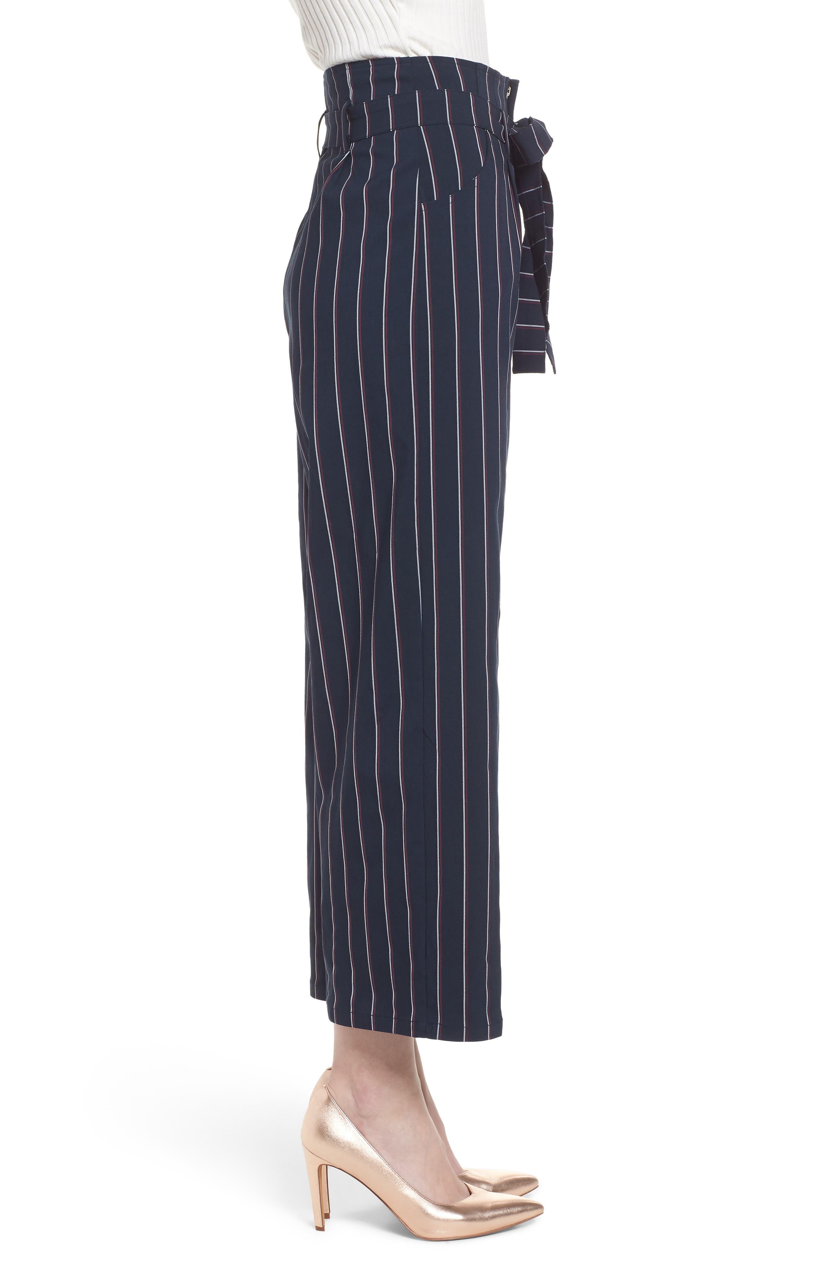 Tie Waist Crop Trousers,                             Alternate thumbnail 3, color,                             Navy Night Stripe