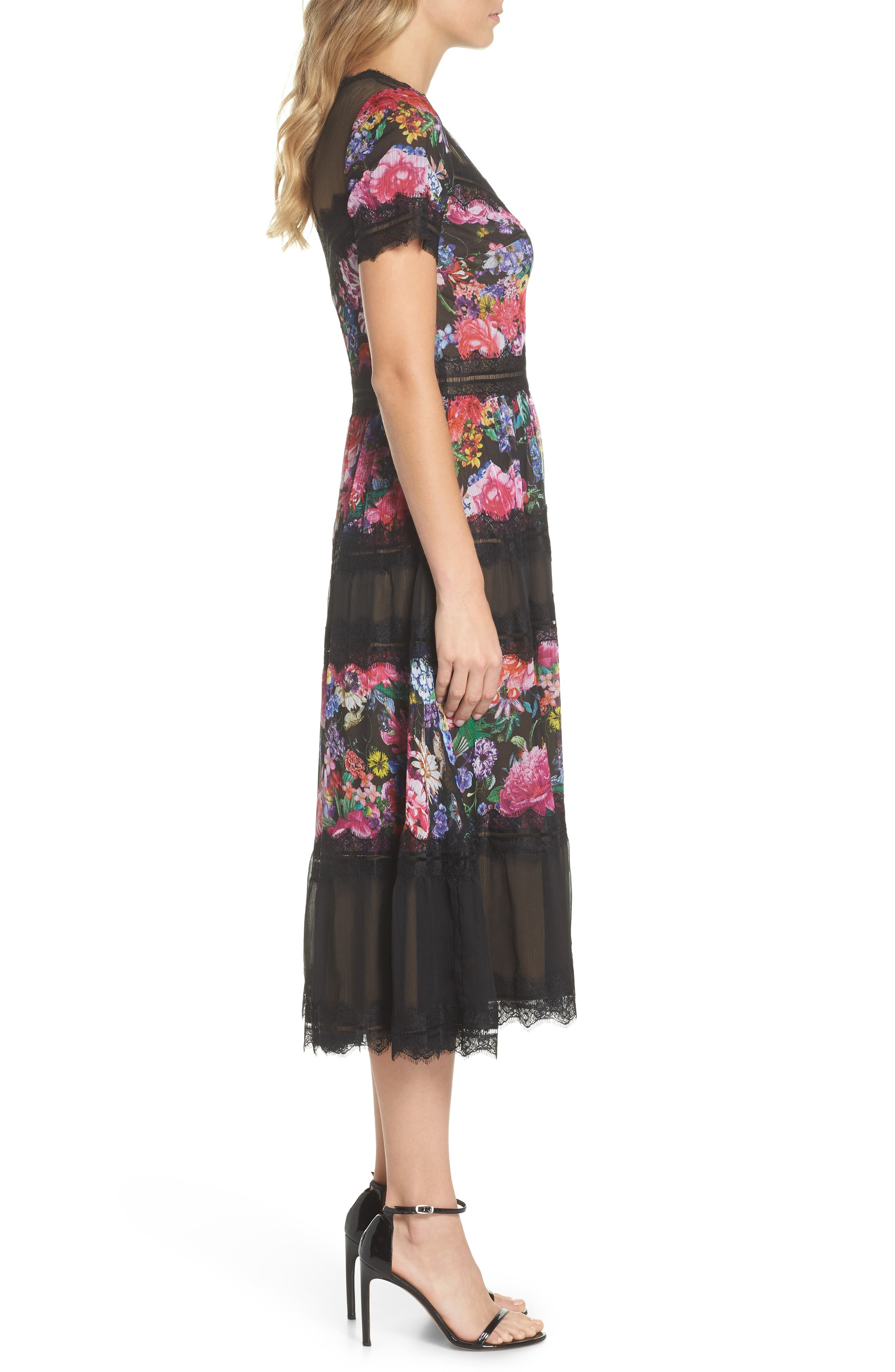 Lace Floral Midi Dress,                             Alternate thumbnail 3, color,                             Black/ Floral