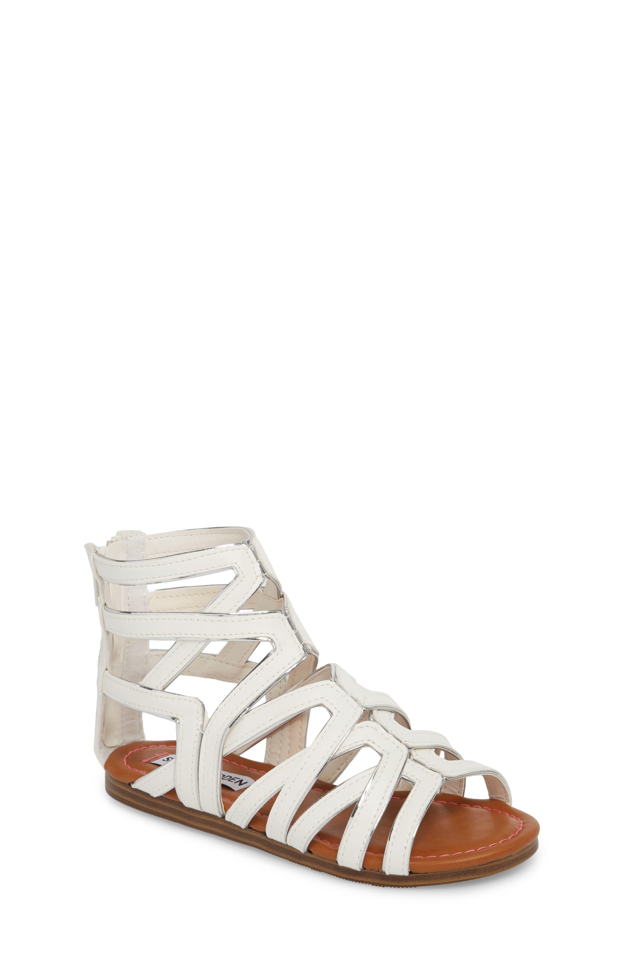 Jessence Gladiator Sandal,                             Main thumbnail 1, color,                             White