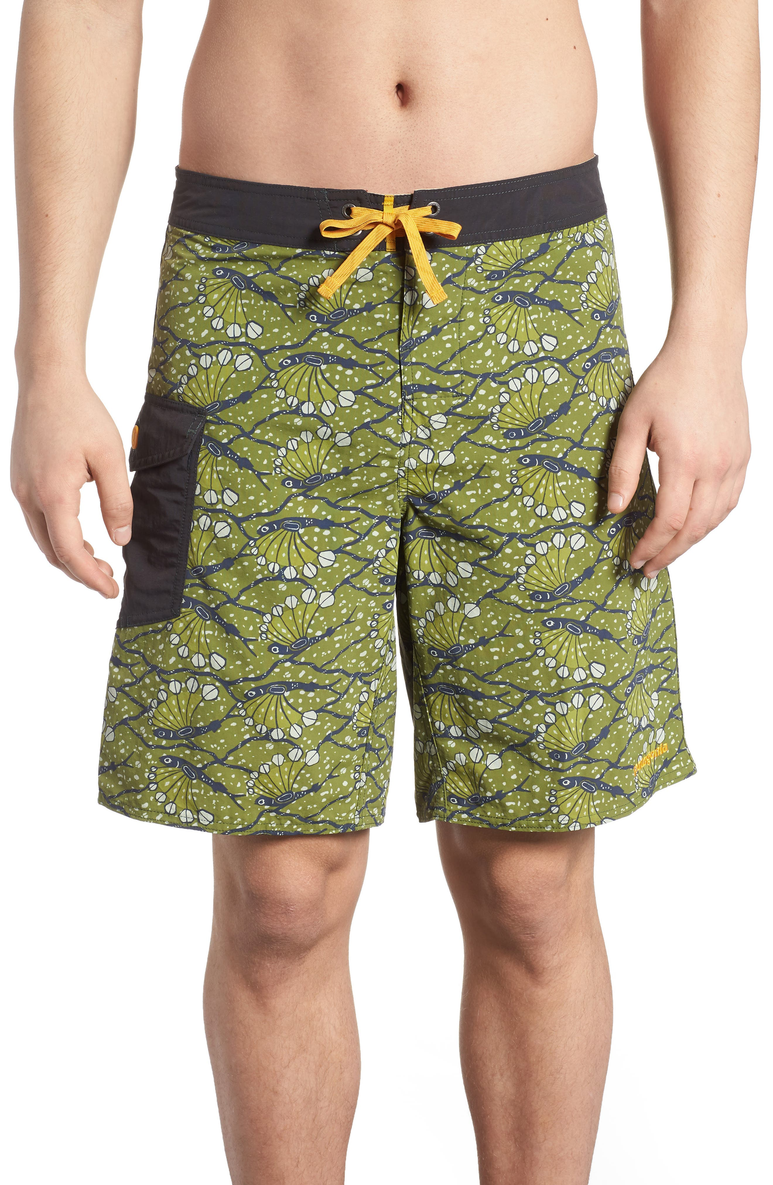 Wavefarer Board Shorts,                         Main,                         color, Hexy Fish Sprouted Green
