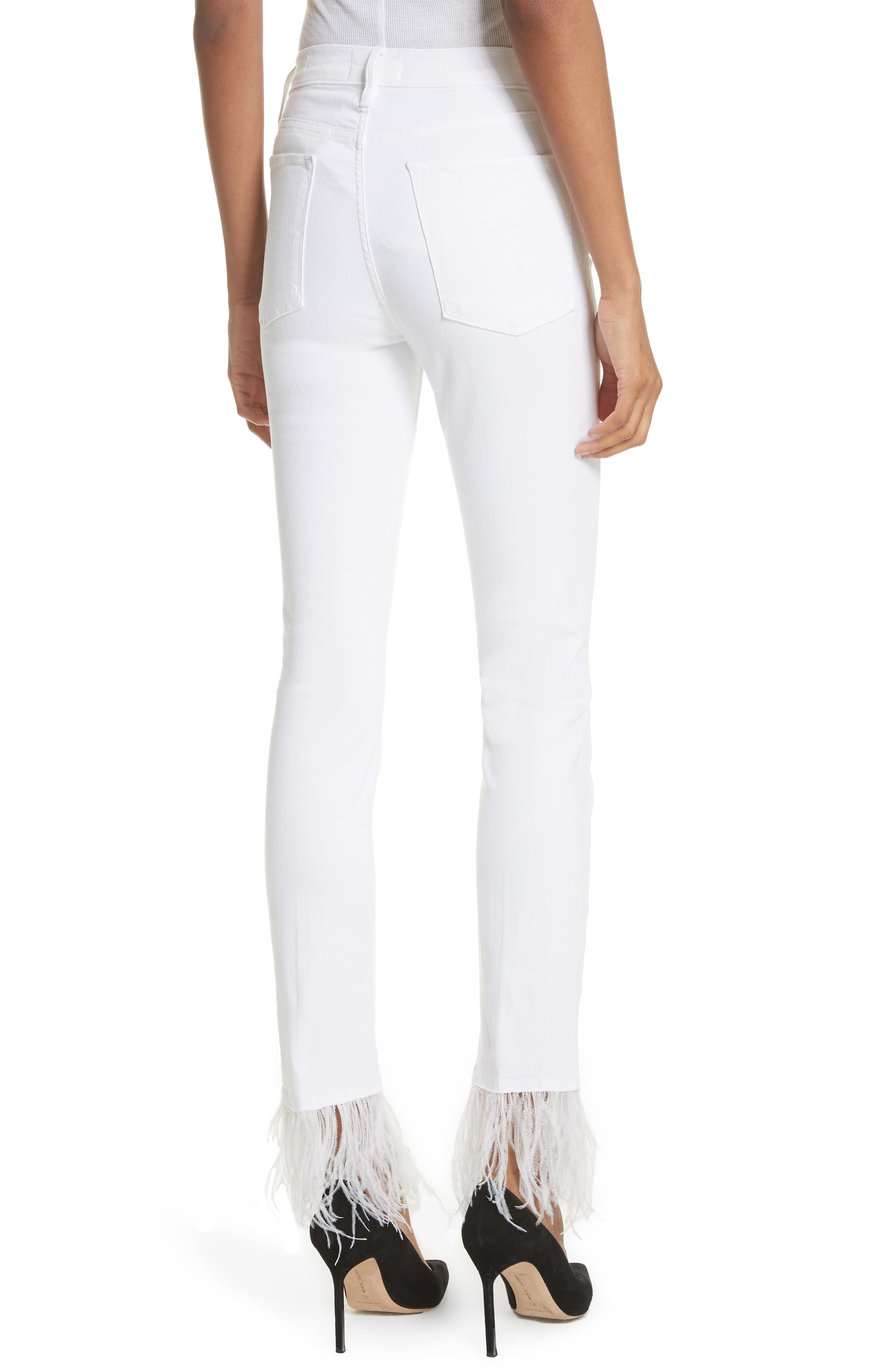 Le High Straight Feather Hem Jeans,                             Alternate thumbnail 2, color,                             Blanc