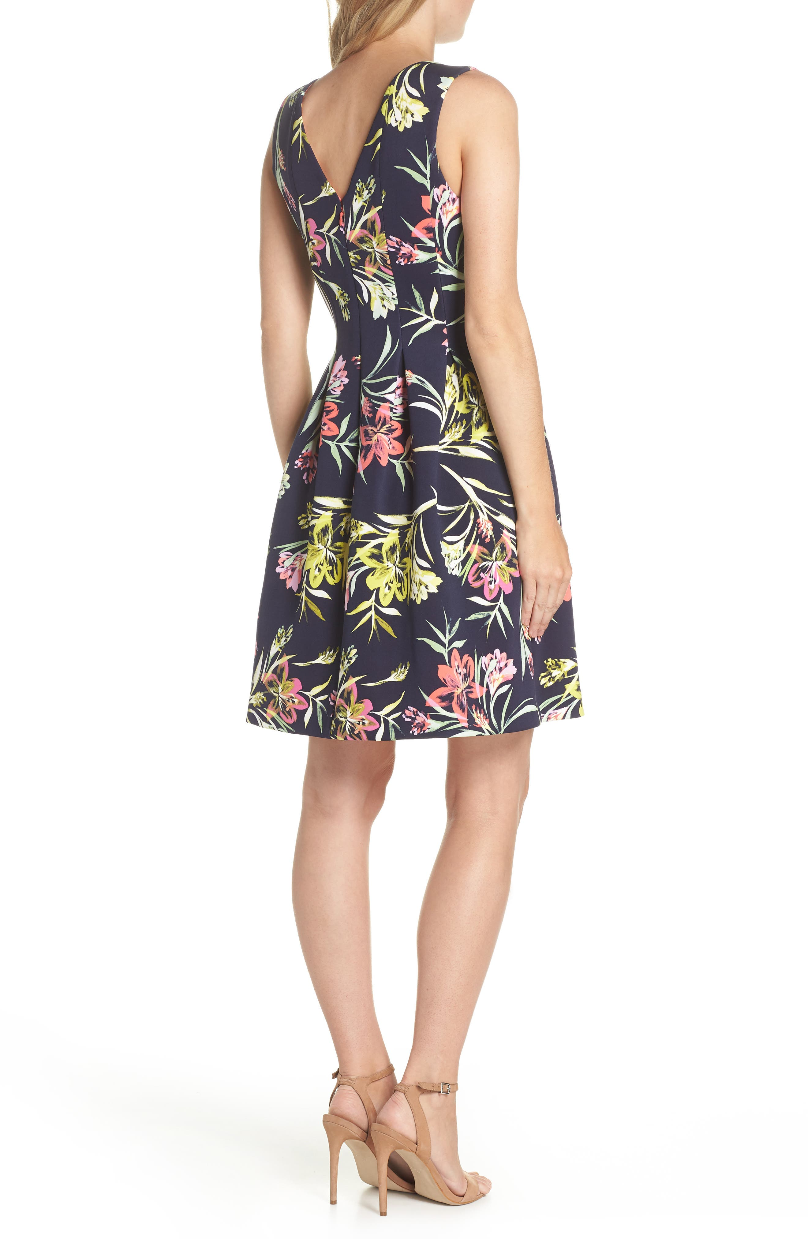 Floral Print Scuba Crepe Fit & Flare Dress,                             Alternate thumbnail 2, color,                             Navy Multi