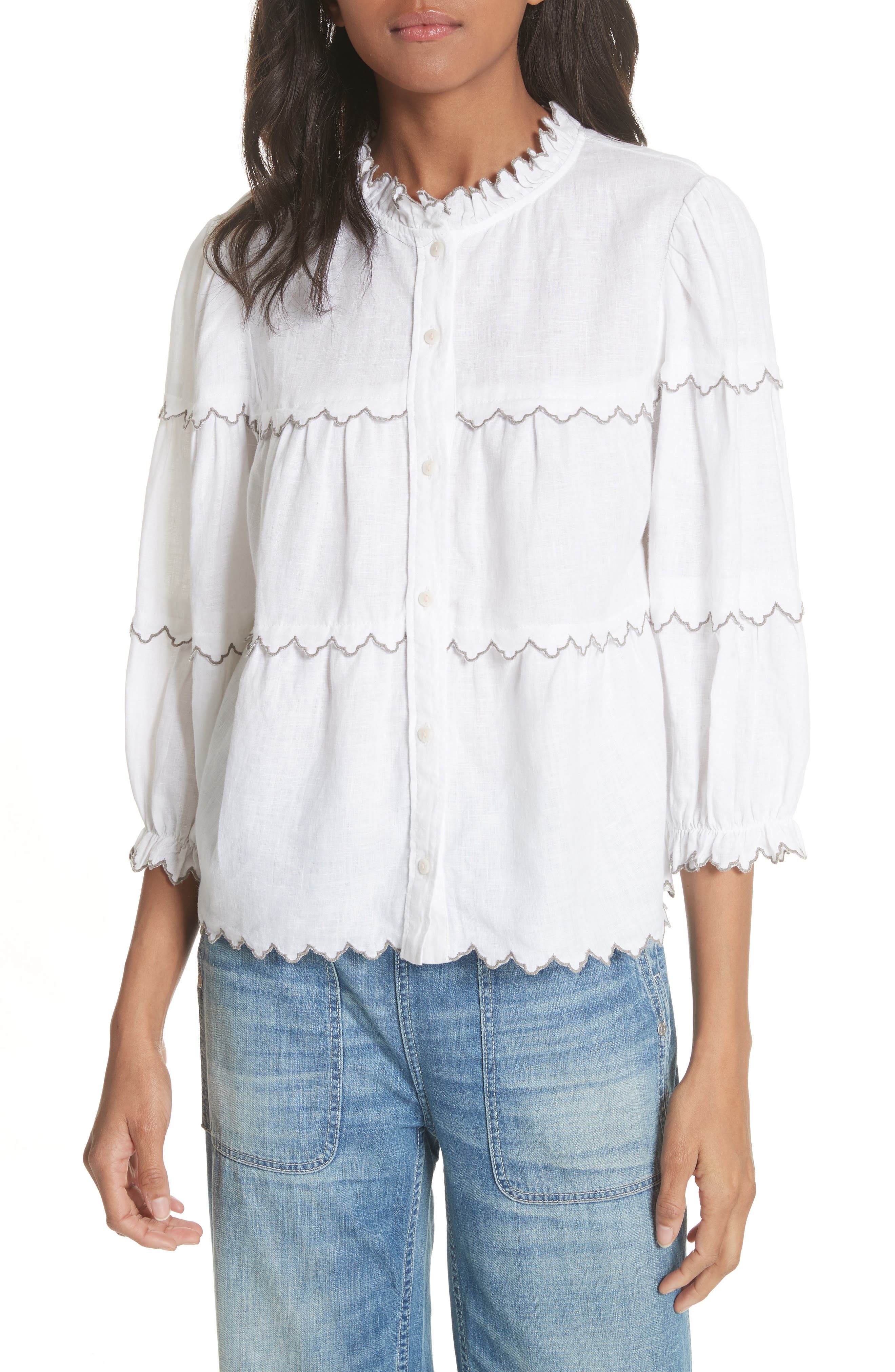 Embroidered Linen Top,                         Main,                         color, Milk