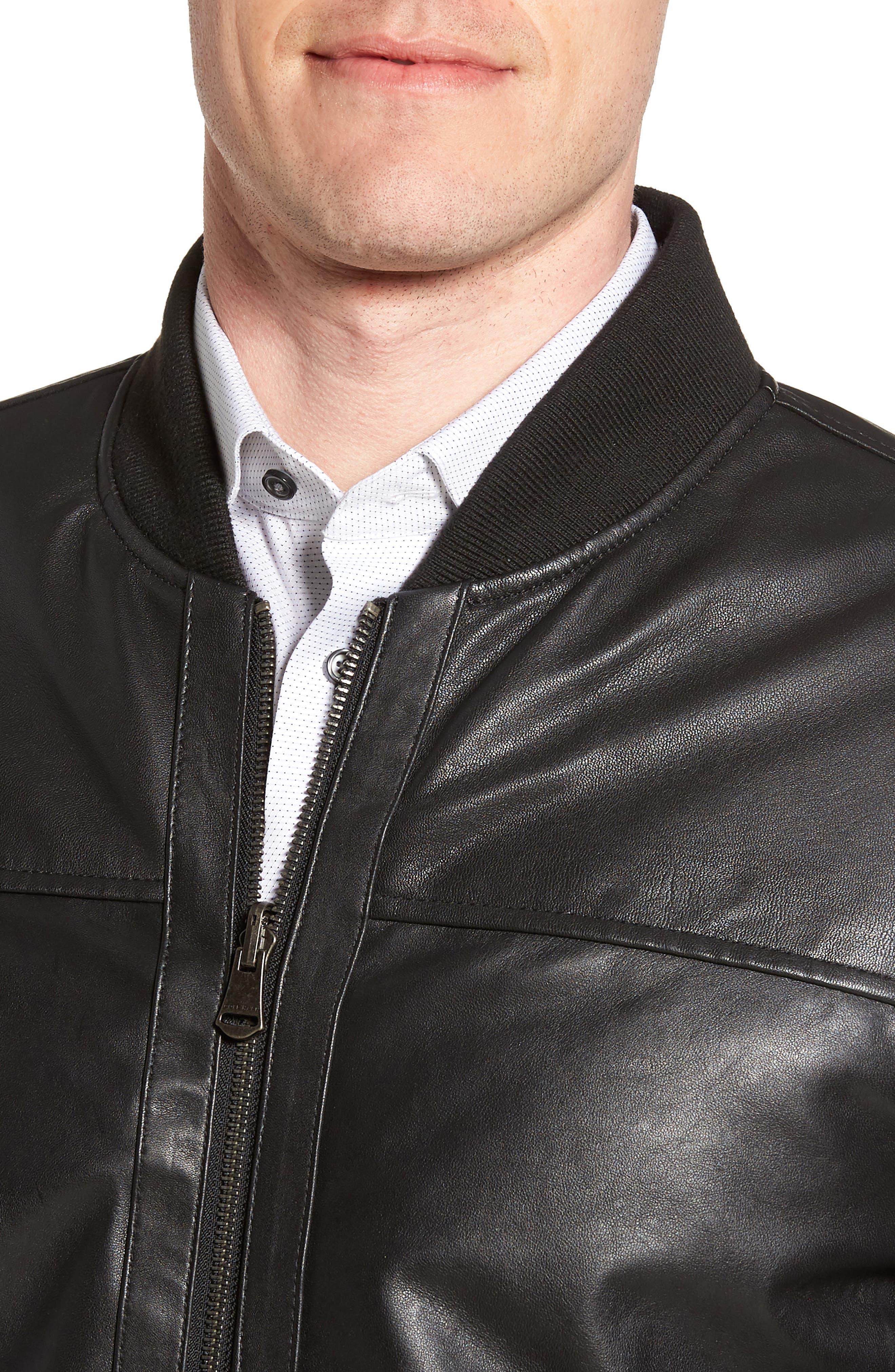 Reversible Leather Jacket,                             Alternate thumbnail 5, color,                             Black/ Navy