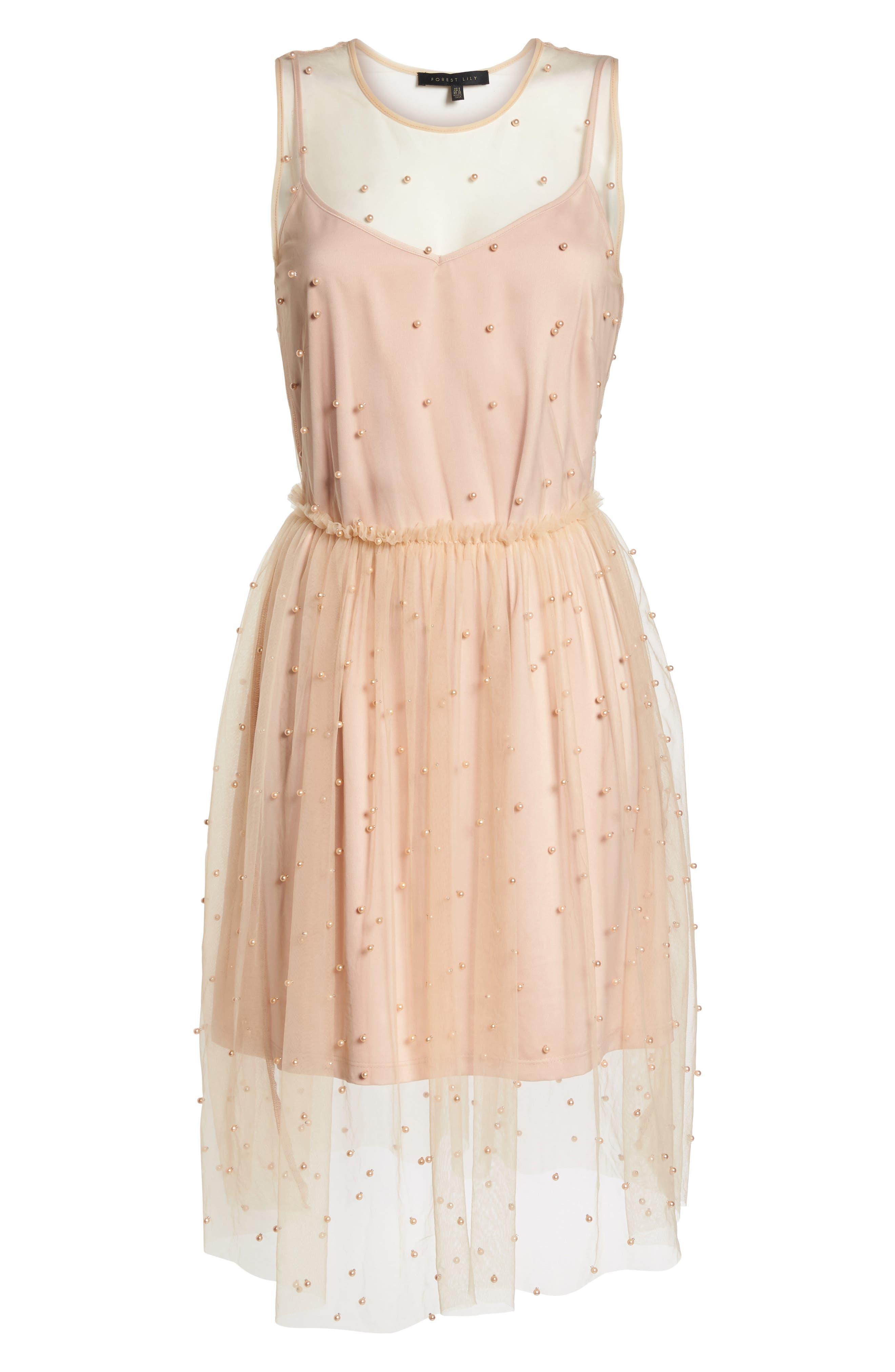 Imitation Pearl & Tulle Dress,                             Alternate thumbnail 7, color,                             Blush