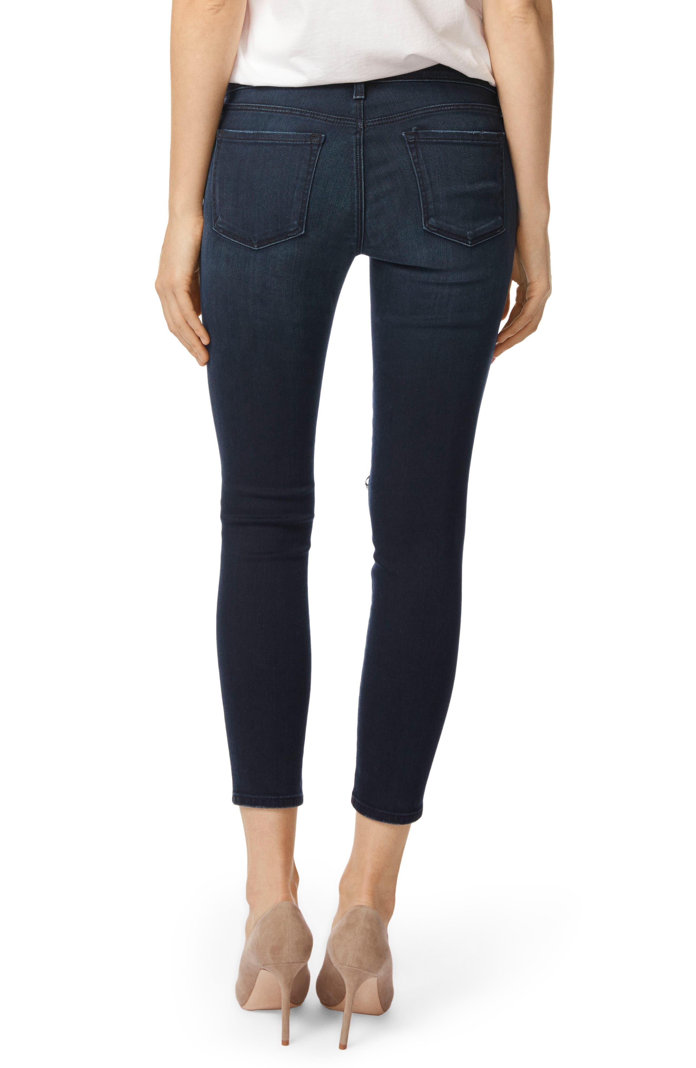 9326 Low Rise Crop Skinny Jeans,                             Alternate thumbnail 2, color,                             Black Sea