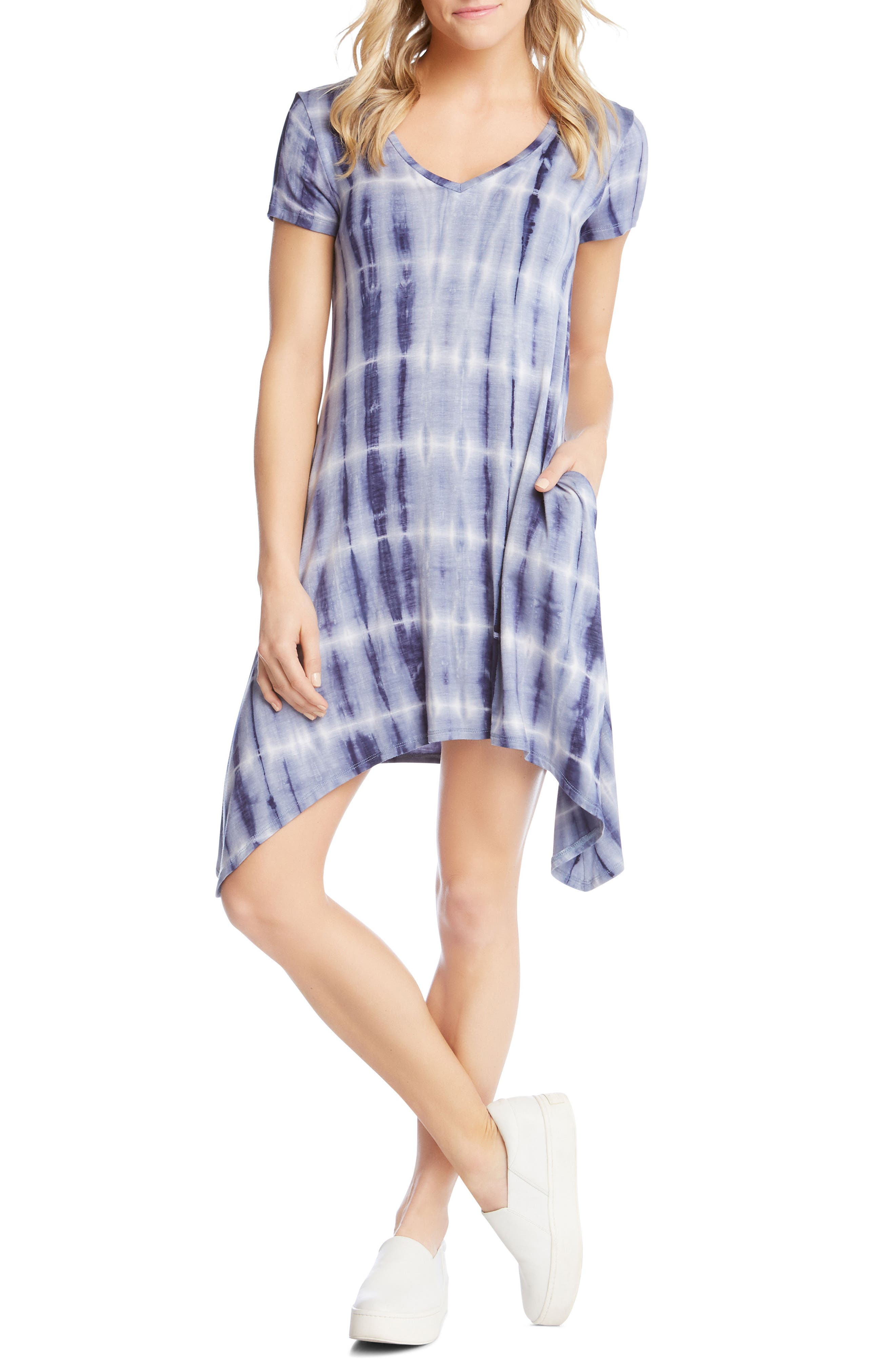 Tie Dye Sharkbite Hem Dress,                             Main thumbnail 1, color,                             Tie-Die
