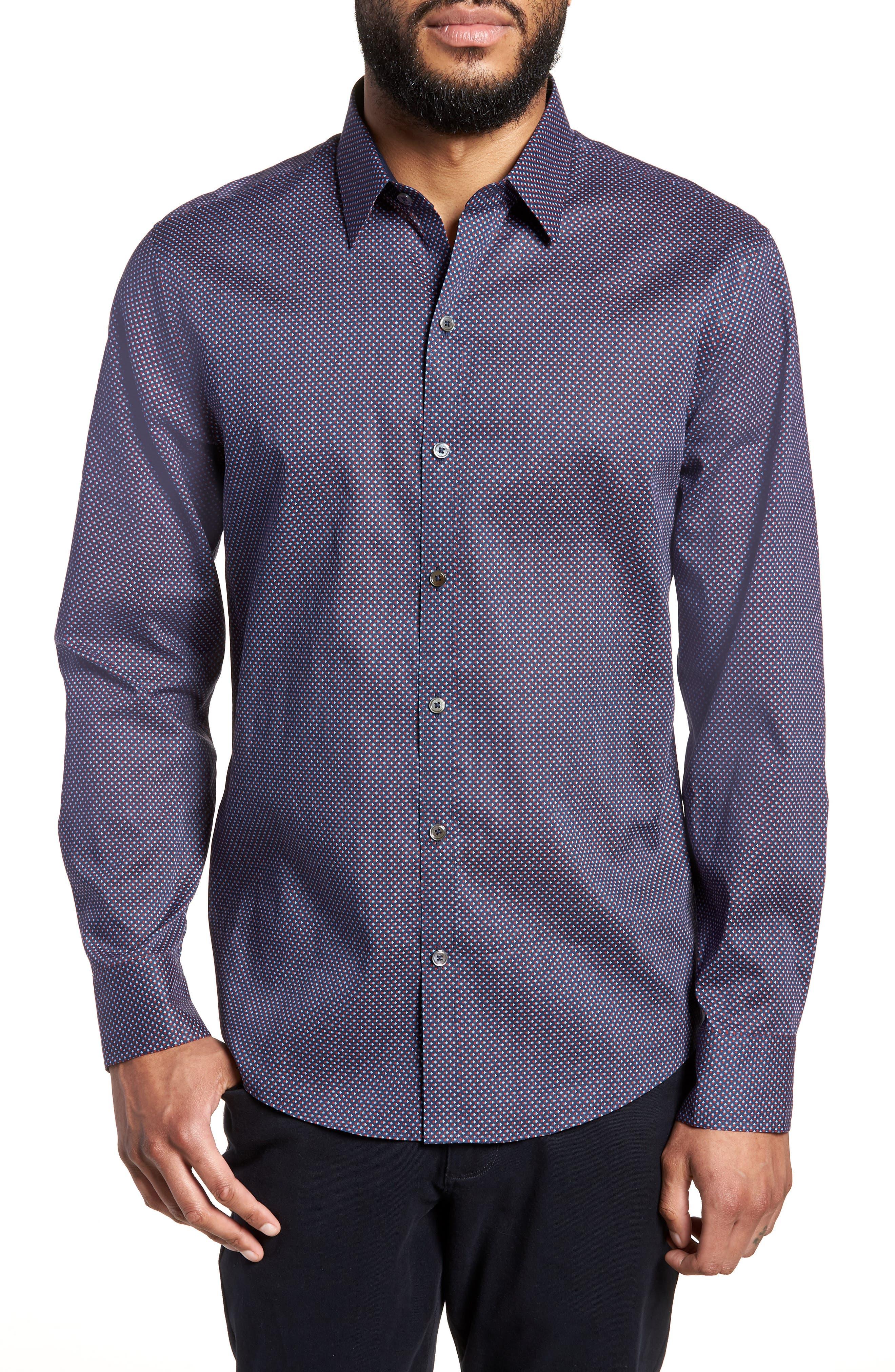 Wilson Geo Print Sport Shirt,                         Main,                         color, Navy