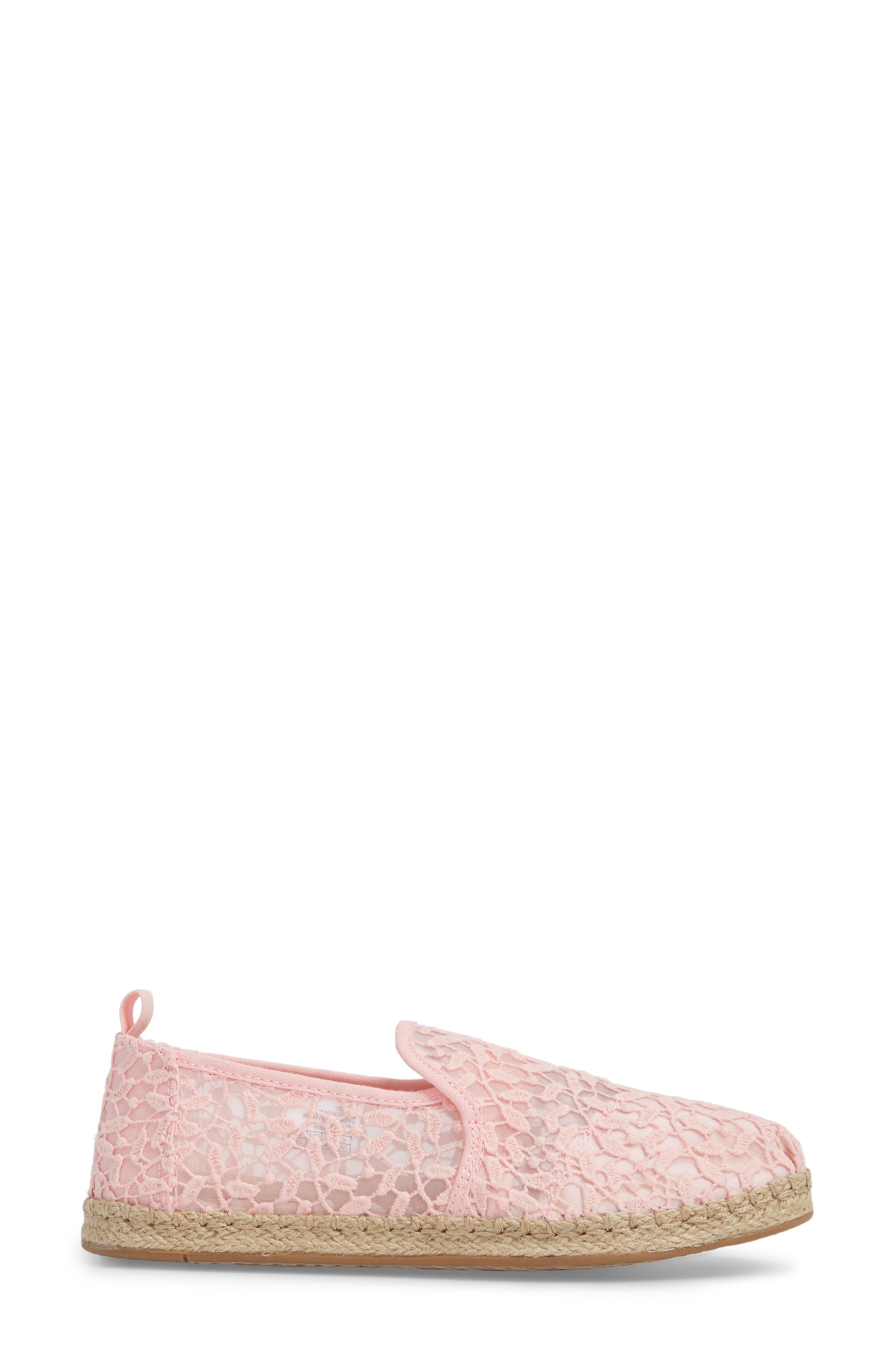Deconstructed Alpargata Espadrille Slip-On,                             Alternate thumbnail 3, color,                             Blossom Lace Leaves