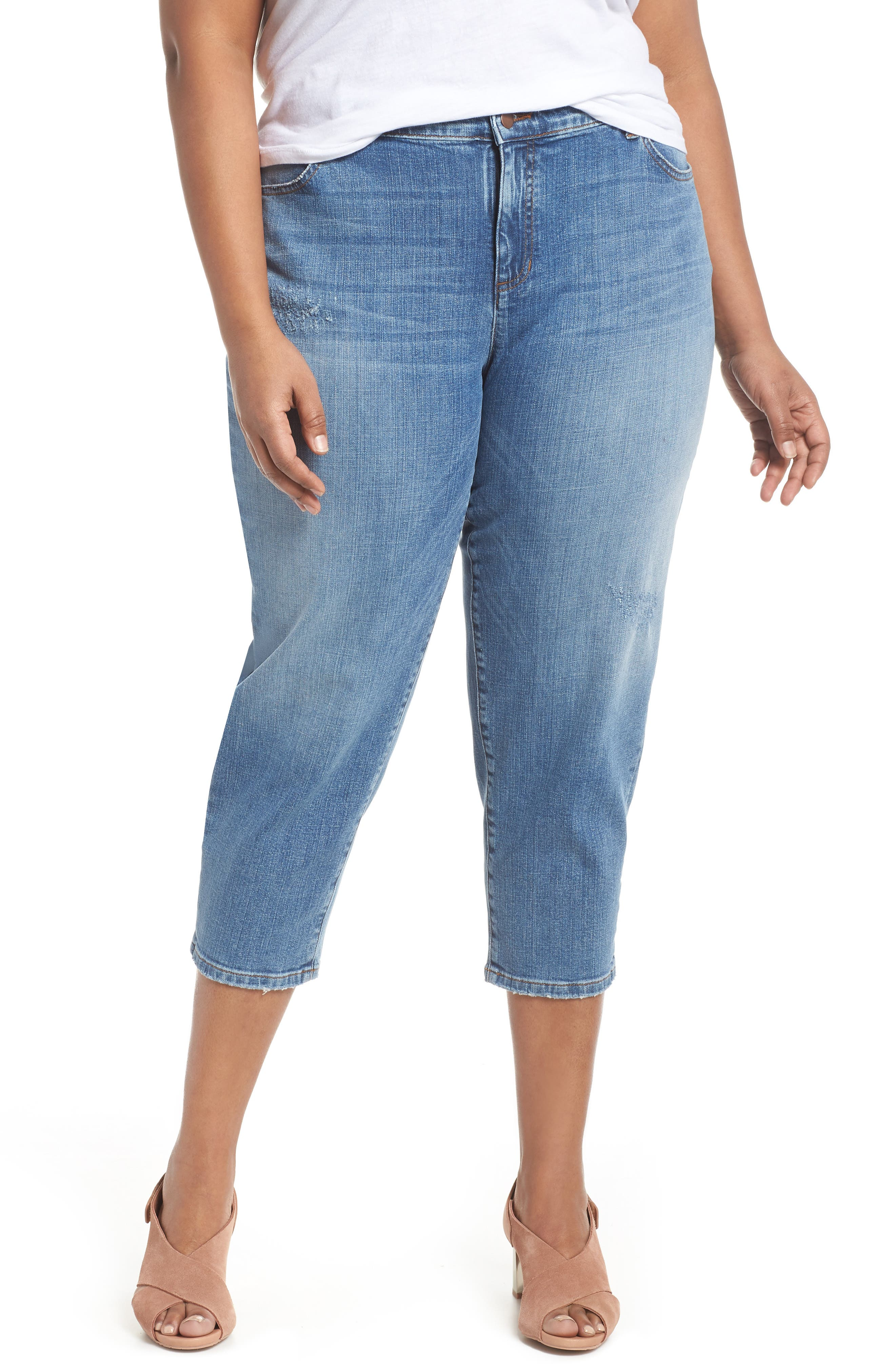 Tapered Crop Jeans,                         Main,                         color, Abraded Sky Blue