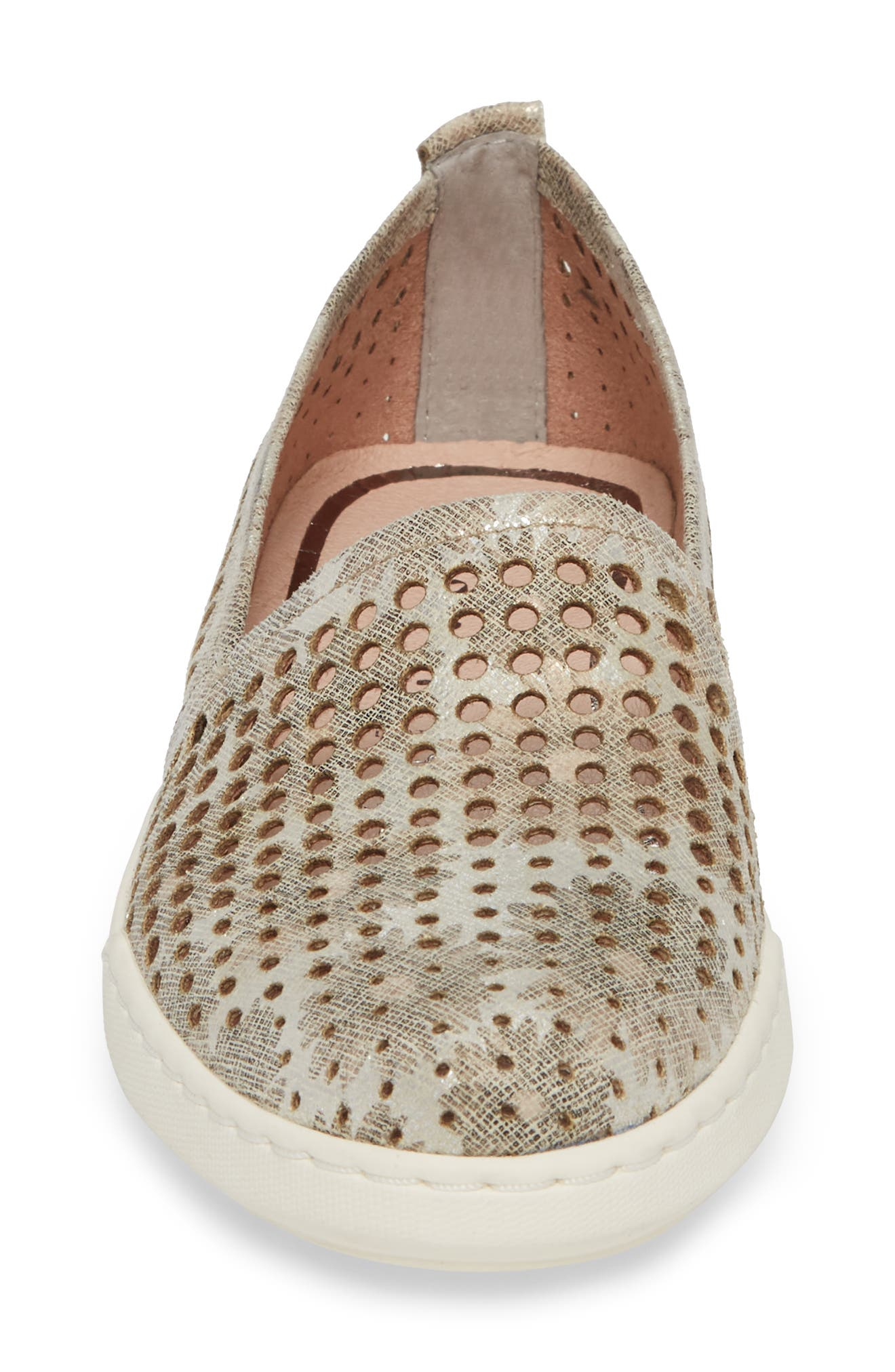 Freya Slip-On Sneaker,                             Alternate thumbnail 4, color,                             Taupe Fabric