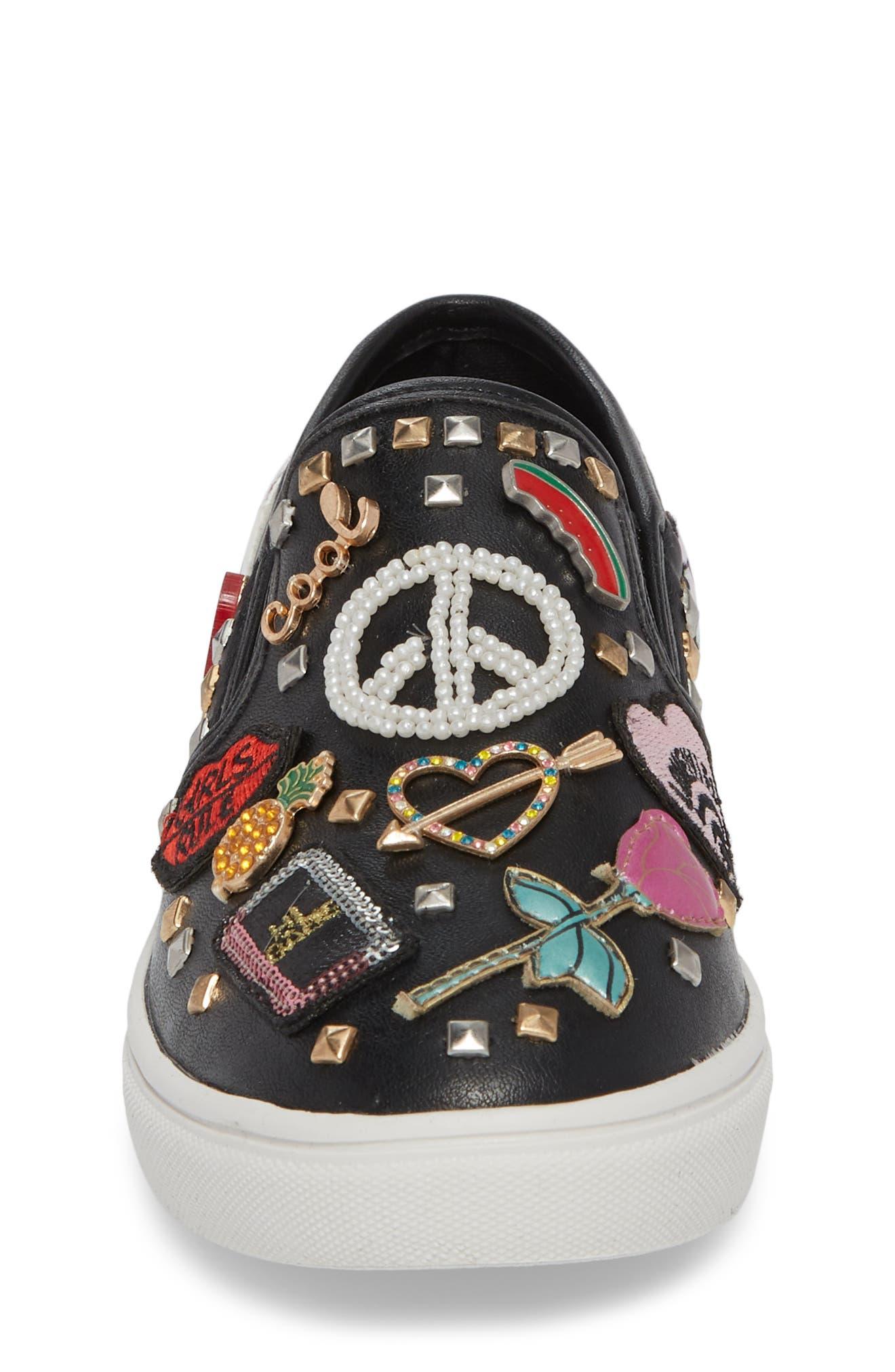 JCraze Embellished Slip-On Sneaker,                             Alternate thumbnail 4, color,                             Black