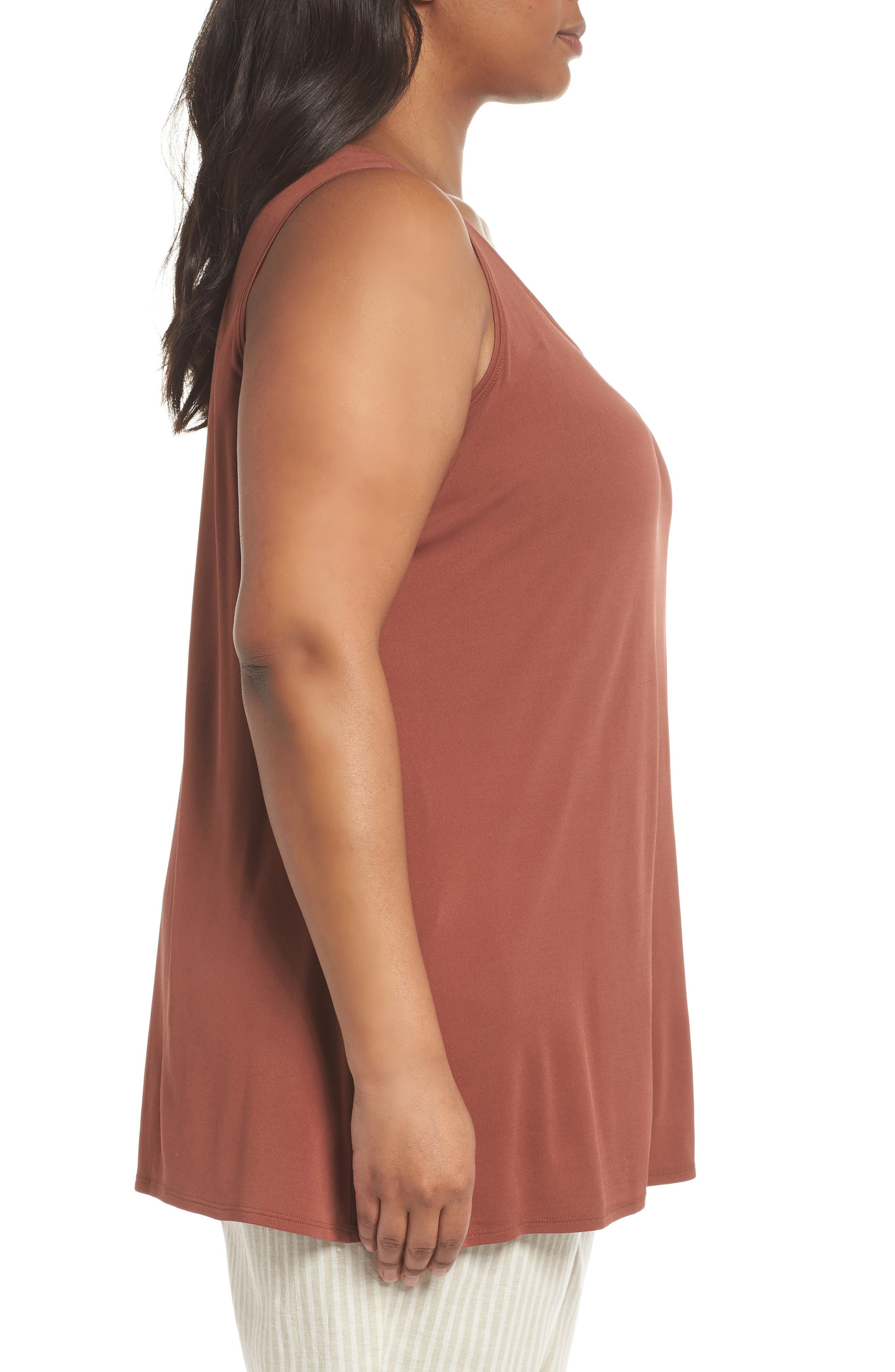 Silk Jersey Tank,                             Alternate thumbnail 3, color,                             Russet