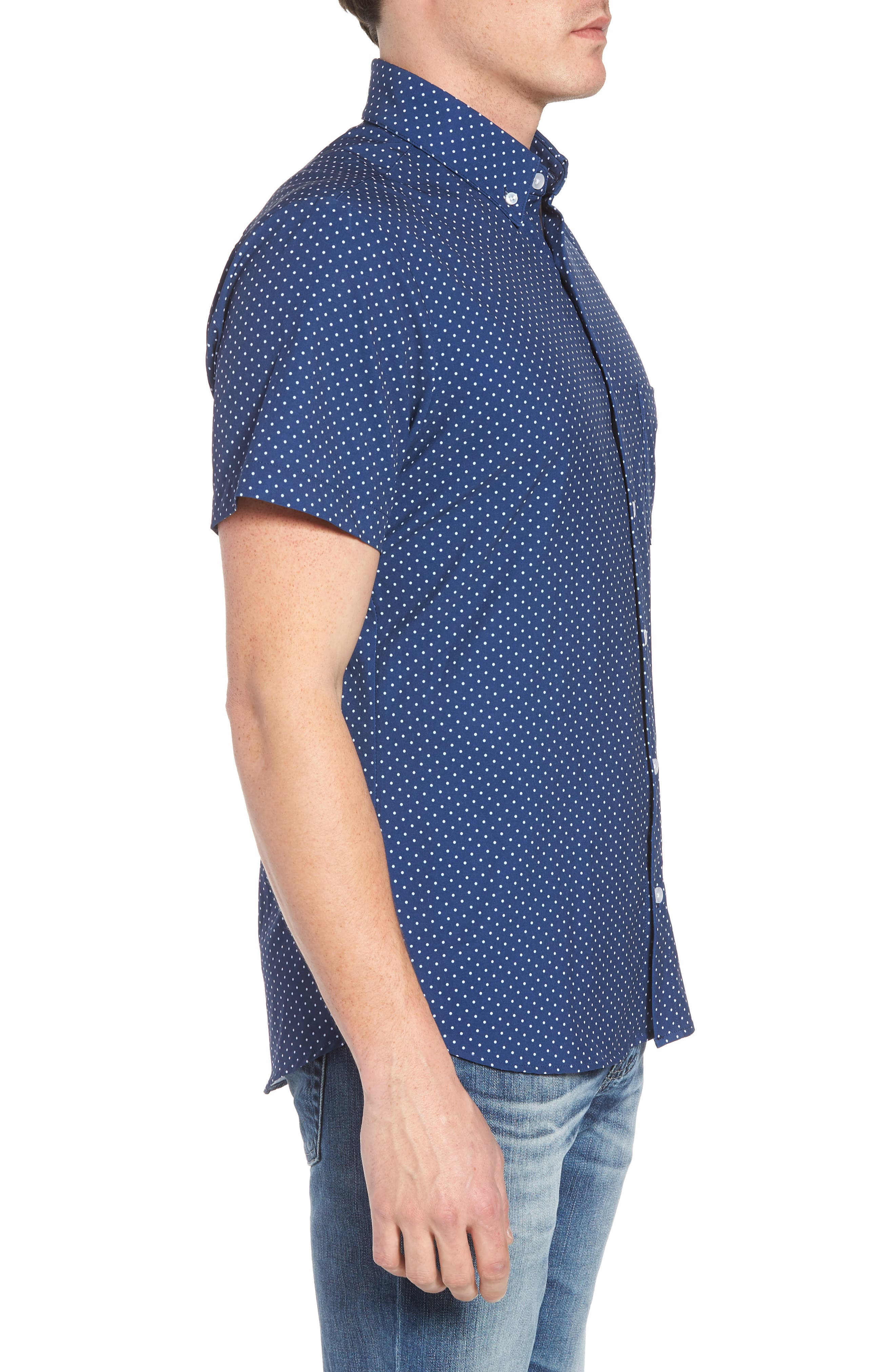 Crosby Slim Fit Dot Performance Sport Shirt,                             Alternate thumbnail 4, color,                             Navy