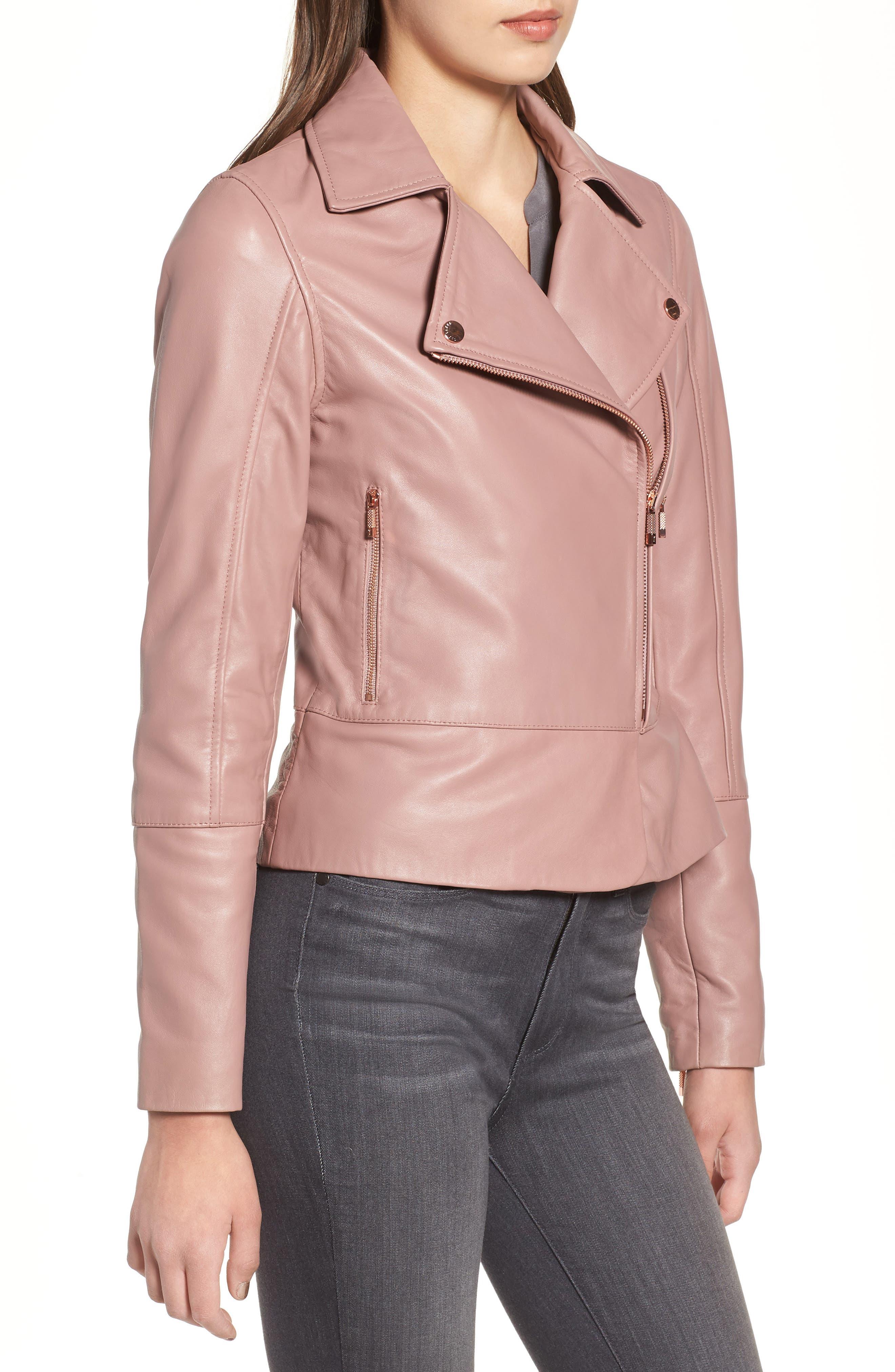 Lizia Leather Biker Jacket,                             Alternate thumbnail 3, color,                             Dusky Pink