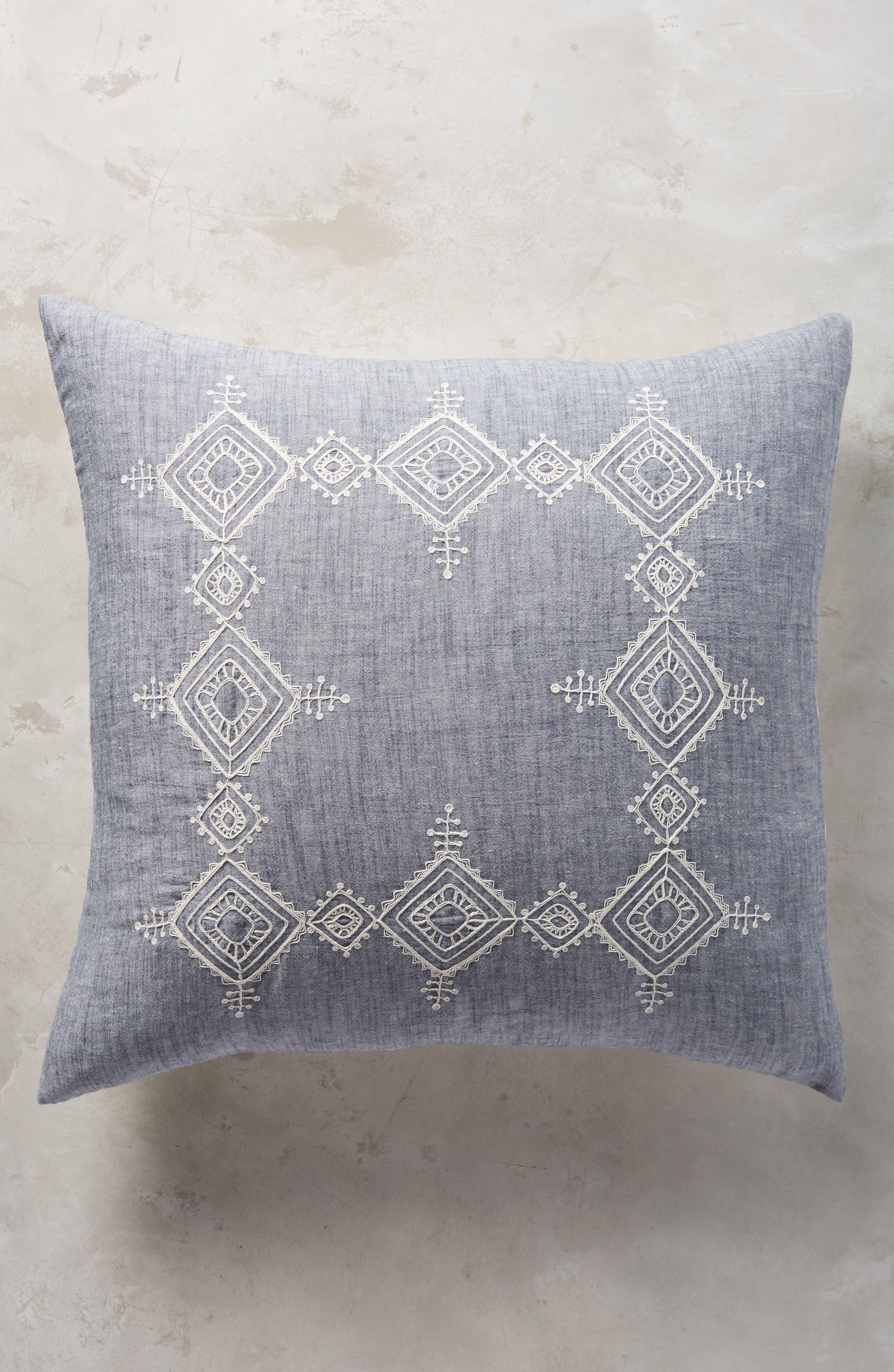 Embroidered Argenta Euro Sham,                         Main,                         color, Blue
