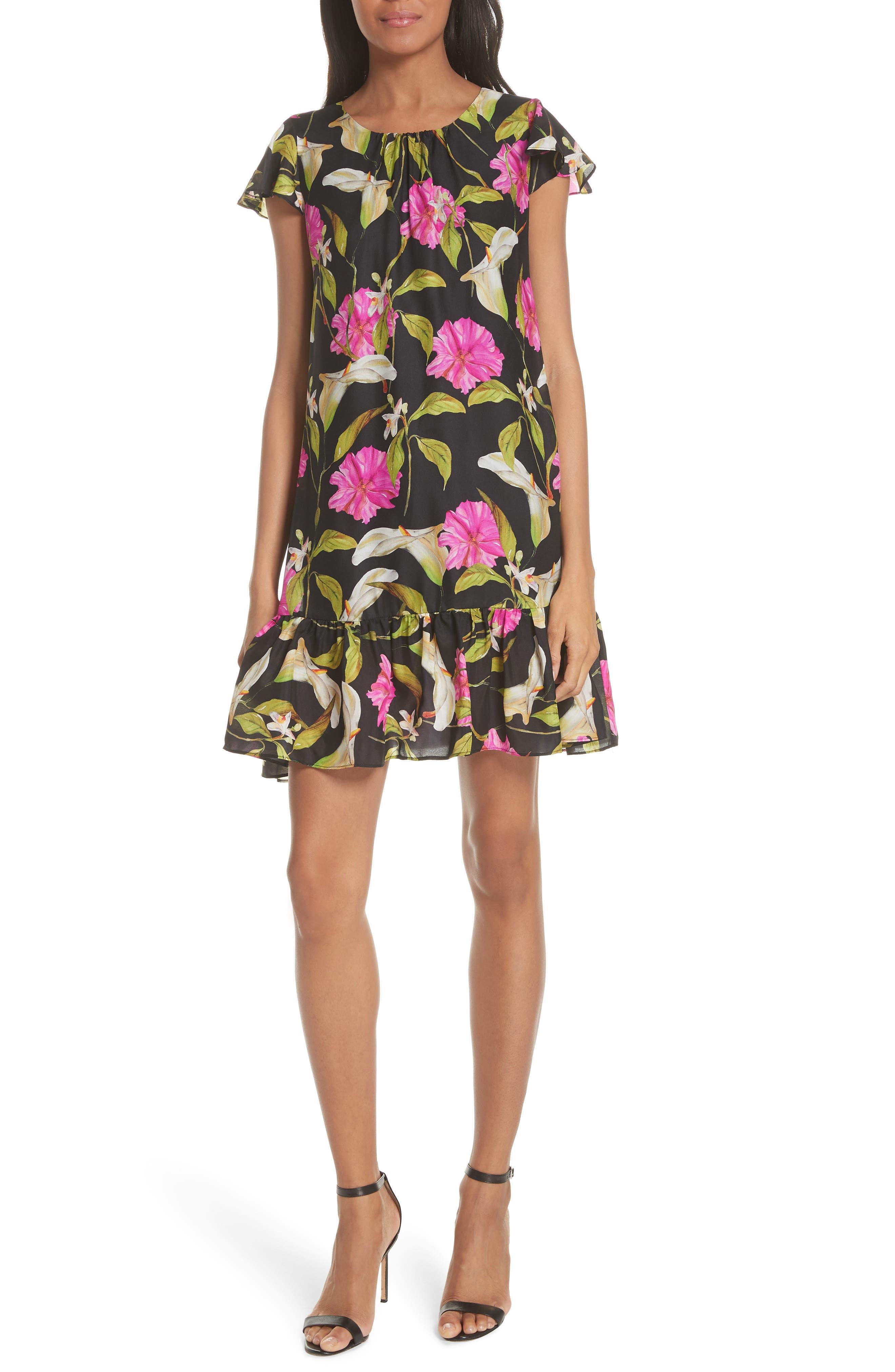 Jill Large Calla Lily Shift Dress,                             Main thumbnail 1, color,                             Multi