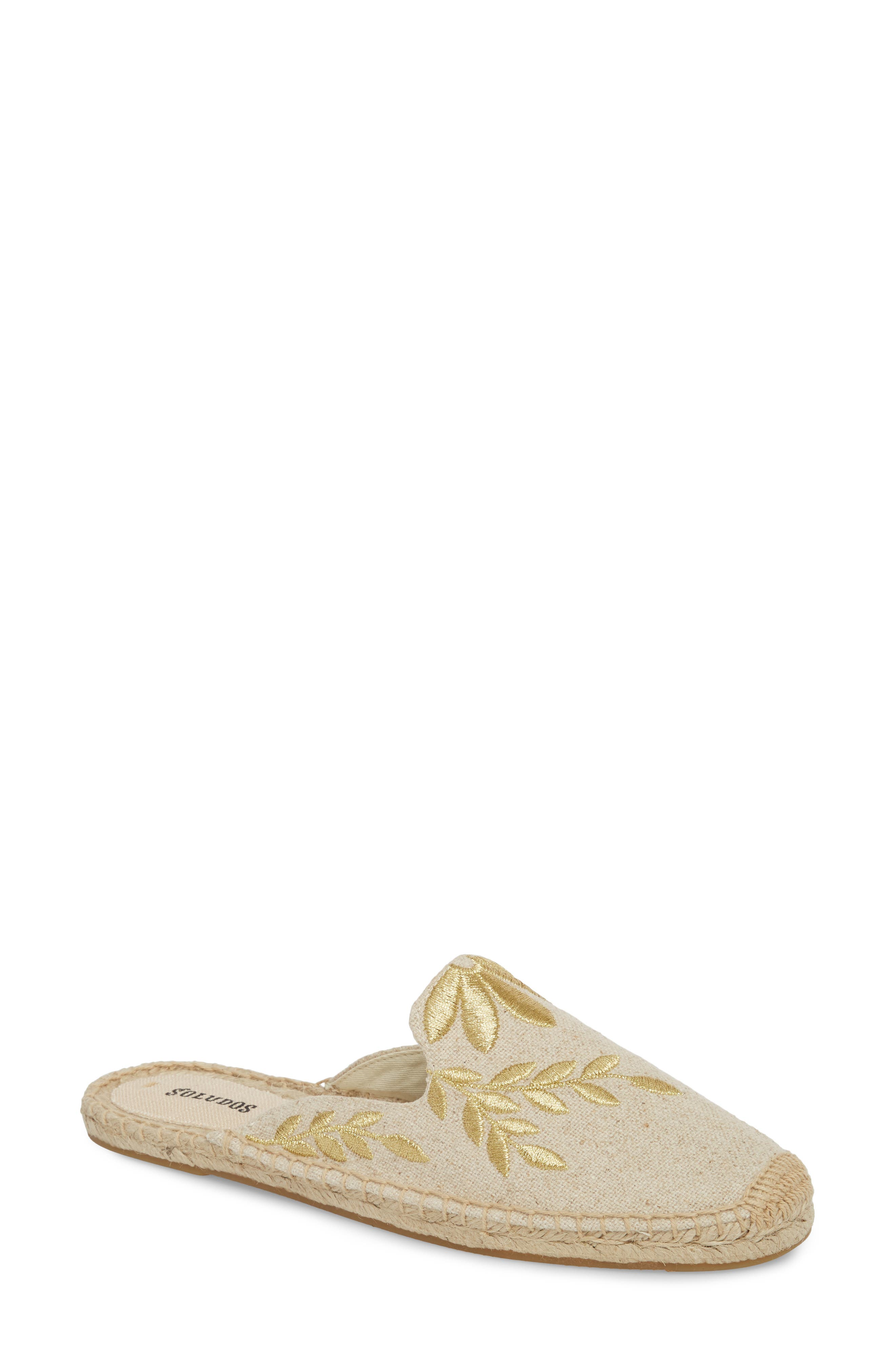 Leaf Embroidered Loafer Mule,                             Main thumbnail 1, color,                             Sand/ Metallic