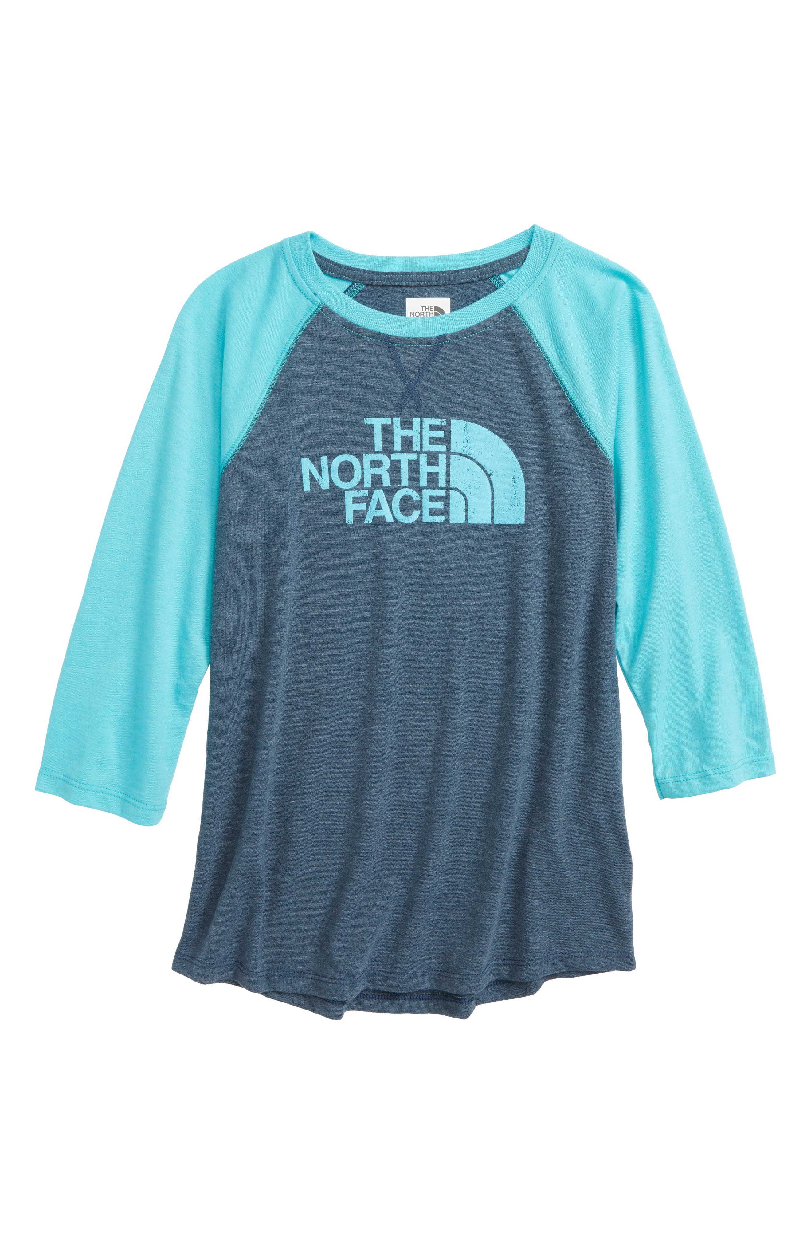 Three-Quarter Sleeve Tee,                             Main thumbnail 1, color,                             Blue Wing Teal Heather