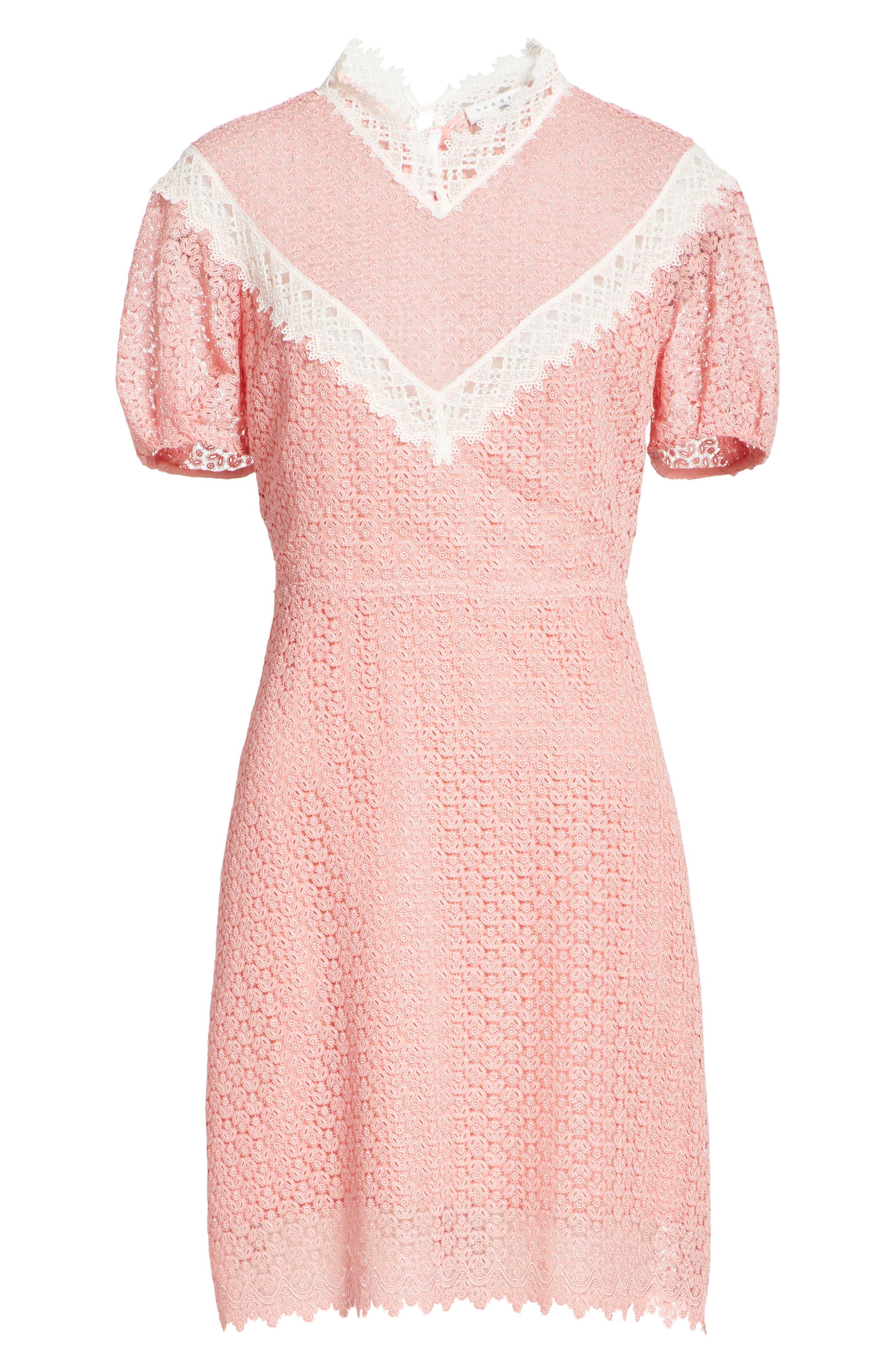 Lace Dress,                             Alternate thumbnail 6, color,                             Peony