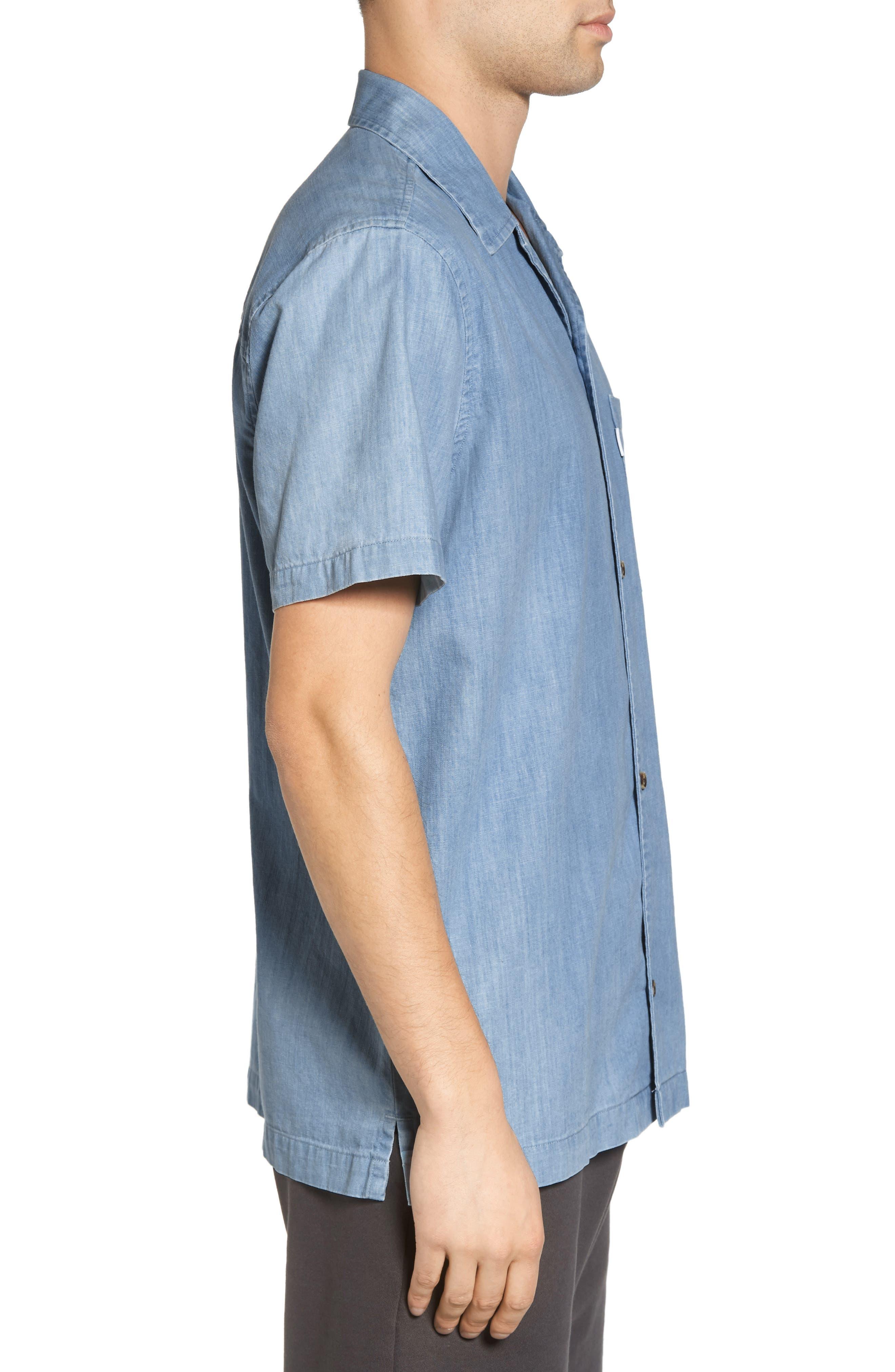 Nevin Short Sleeve Denim Shirt,                             Alternate thumbnail 3, color,                             Polar Blue