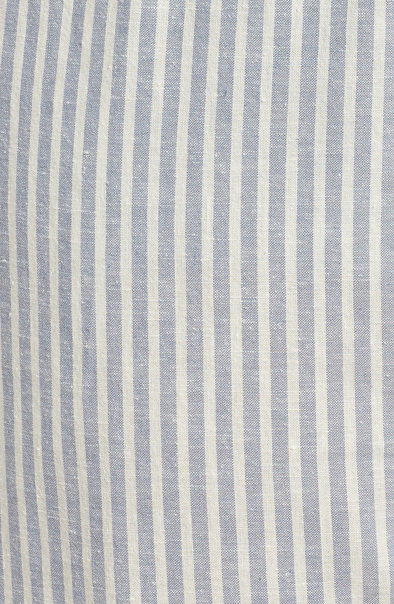 Stripe Ankle Hemp & Cotton Pants,                             Alternate thumbnail 6, color,                             Chambray