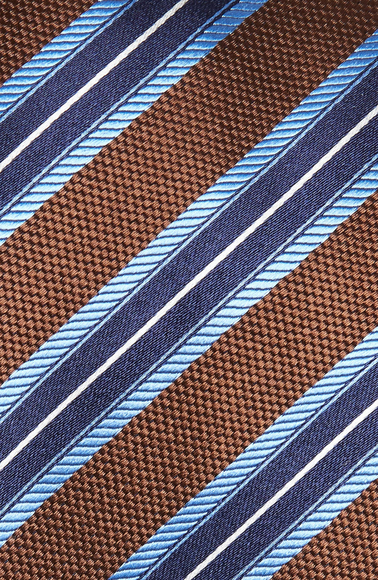 Stripe Silk Tie,                             Alternate thumbnail 2, color,                             Brown