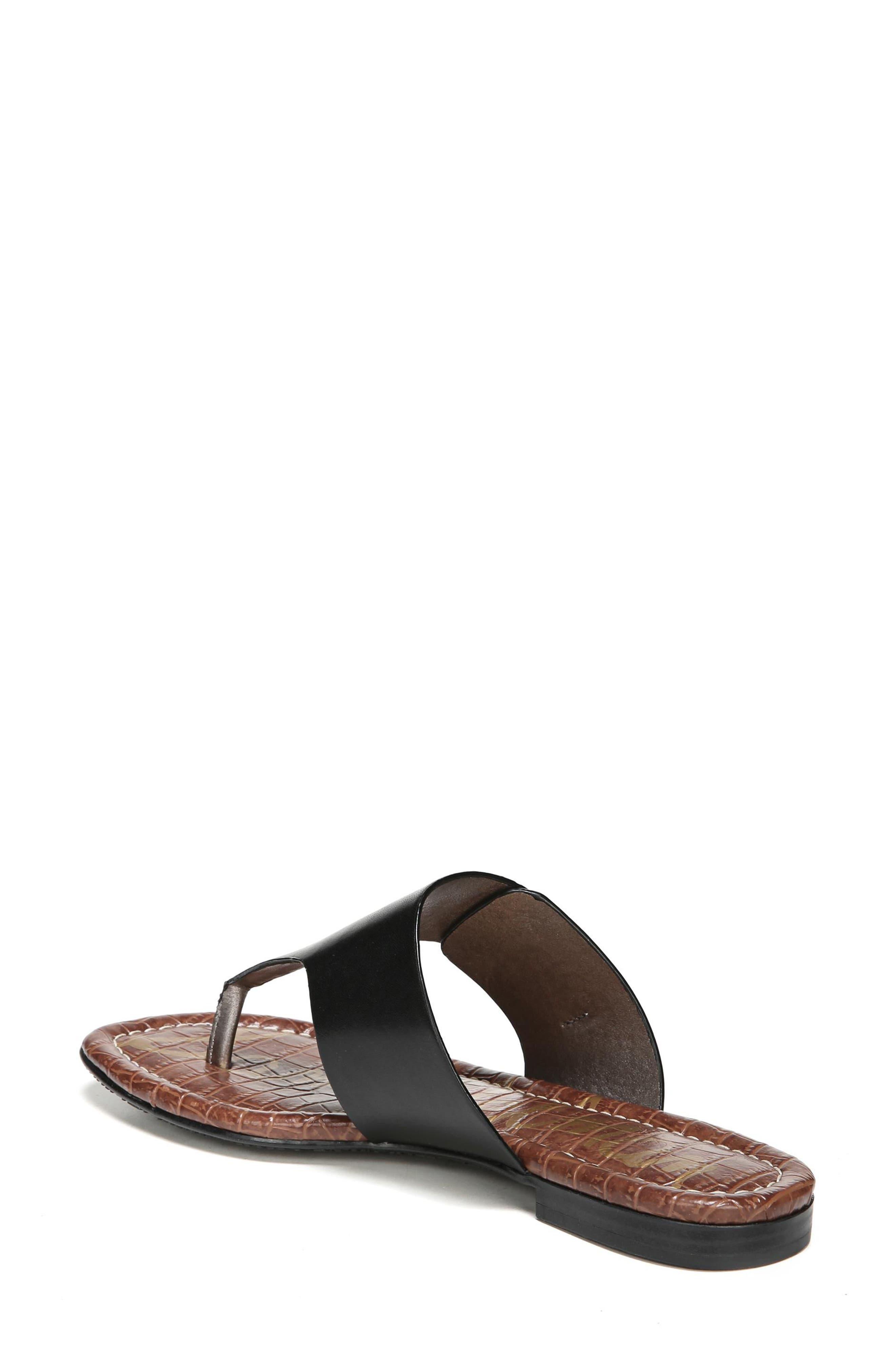 Barry V-Strap Thong Sandal,                             Alternate thumbnail 2, color,                             Black Leather
