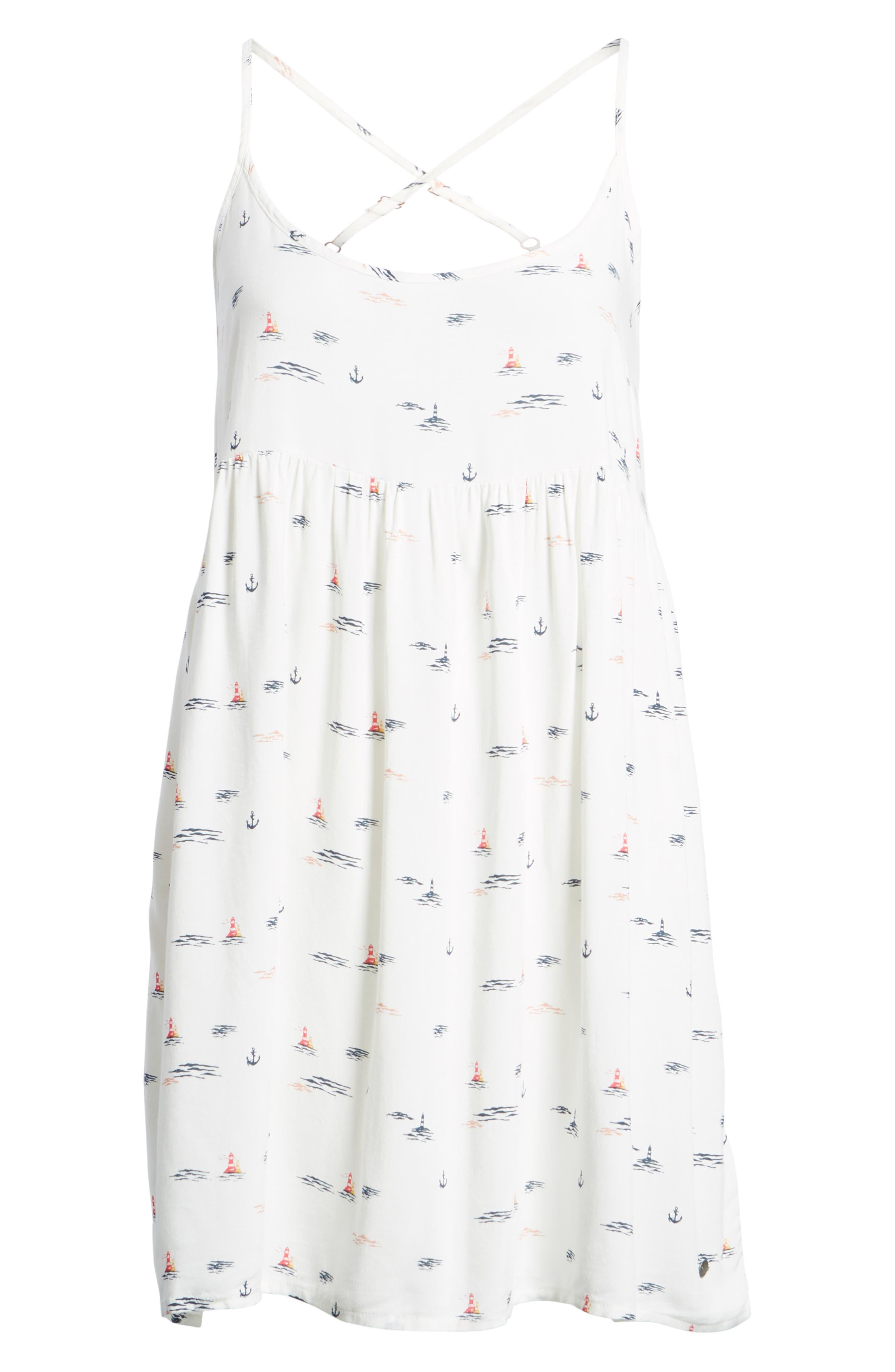 Tropical Sundance Print Babydoll Dress,                             Alternate thumbnail 7, color,                             Marshmallow Bay Cruise
