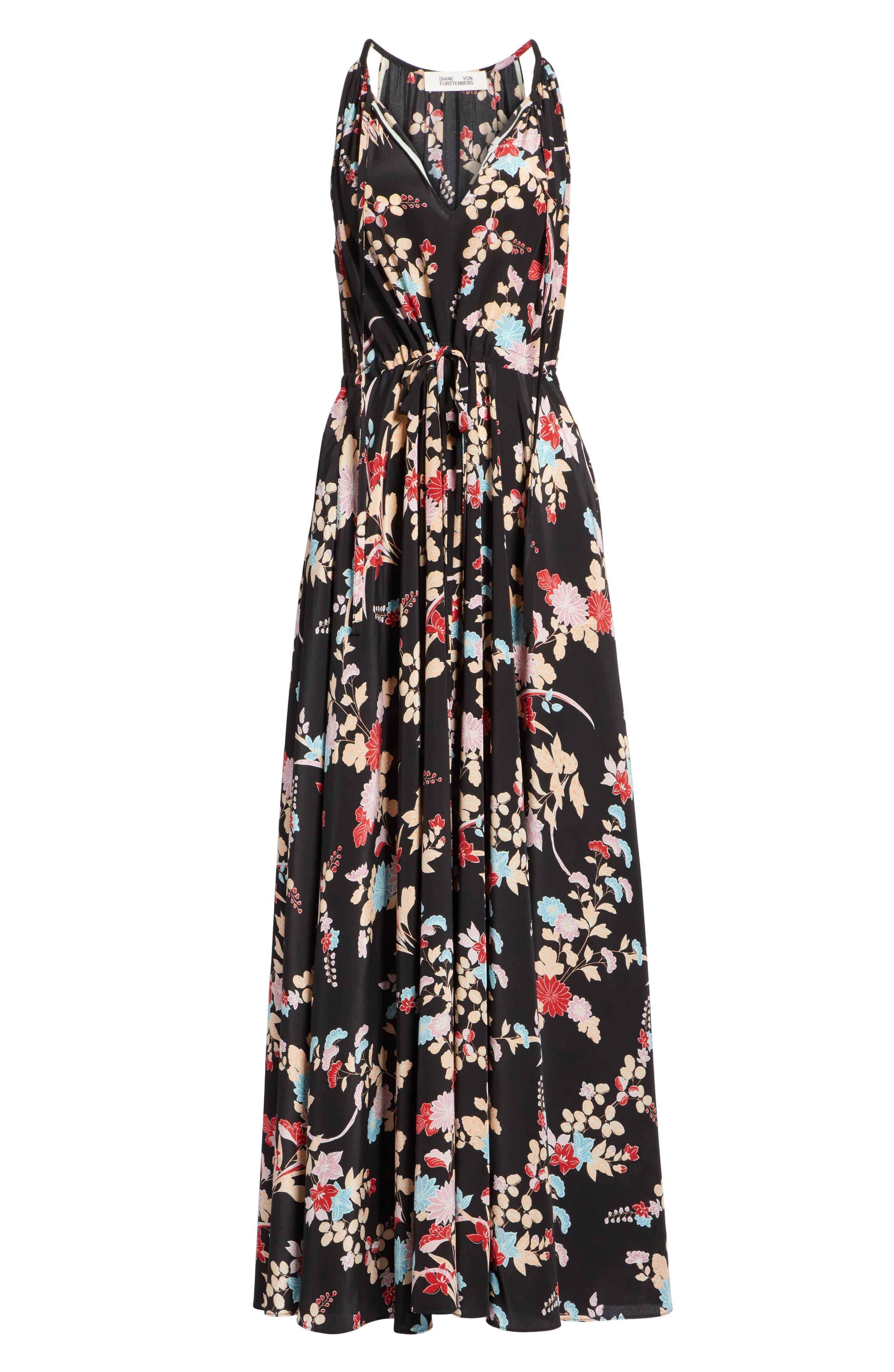 Floral Keyhole Tie Waist Silk Maxi Dress,                             Alternate thumbnail 6, color,                             Walden Black