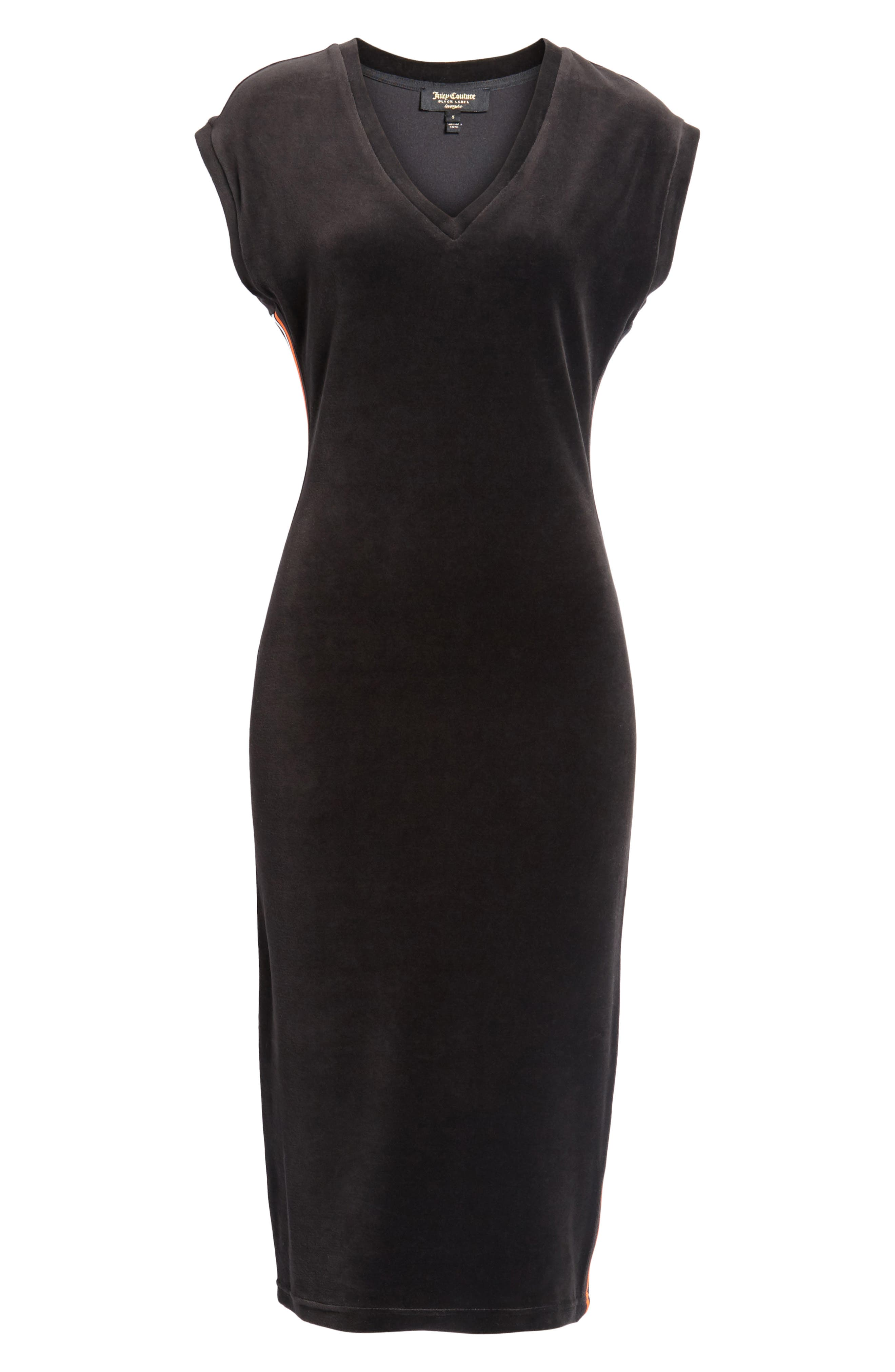 Fitted Stretch Velour Midi Dress,                             Alternate thumbnail 7, color,                             Pitch Black
