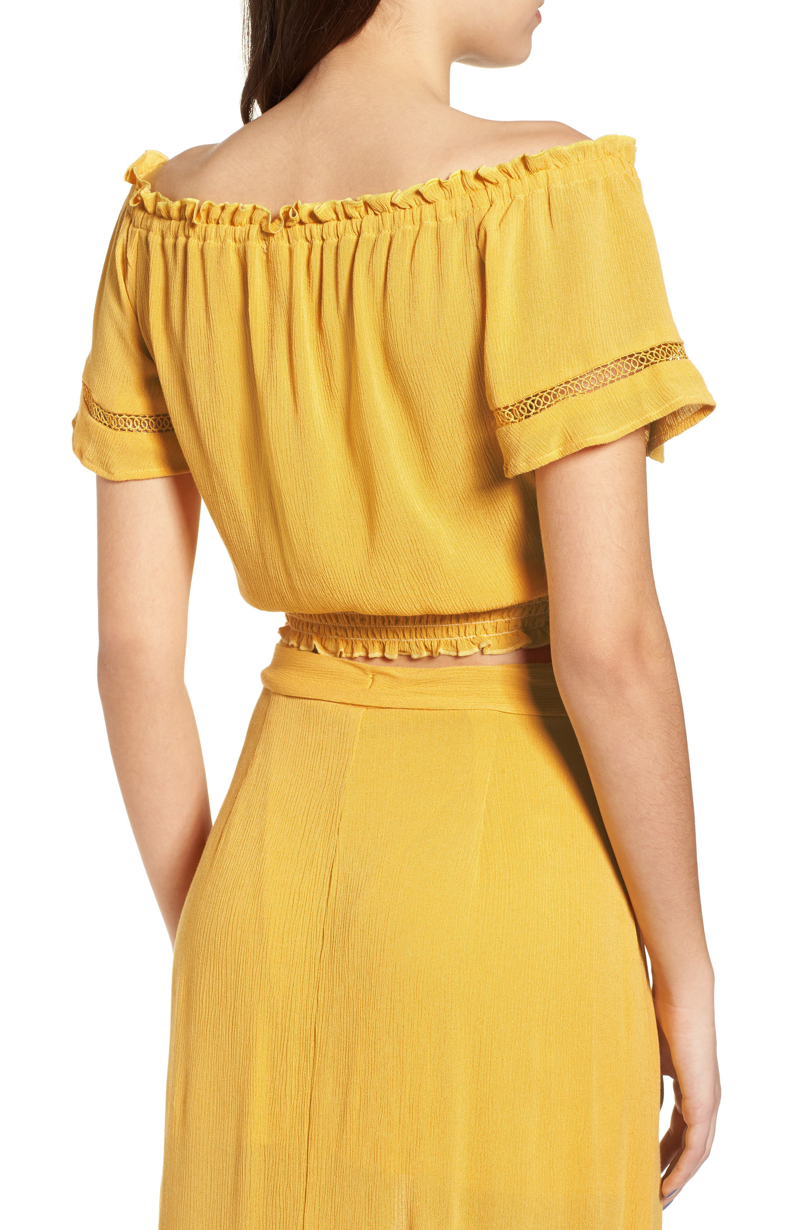 Off the Shoulder Crop Top,                             Alternate thumbnail 3, color,                             Yellow Sulphur