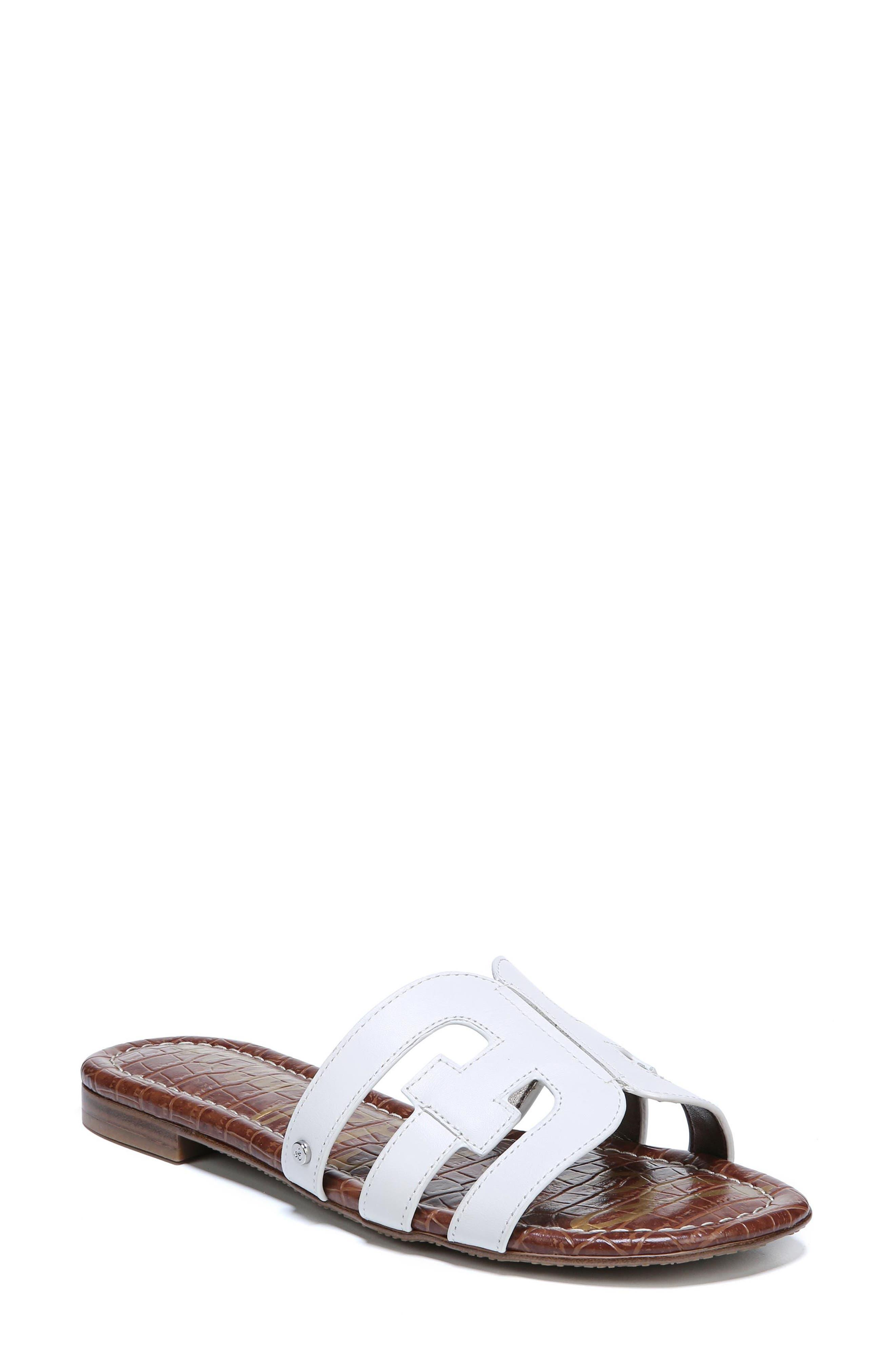 Bay Cutout Slide Sandal,                             Main thumbnail 1, color,                             Bright White Leather