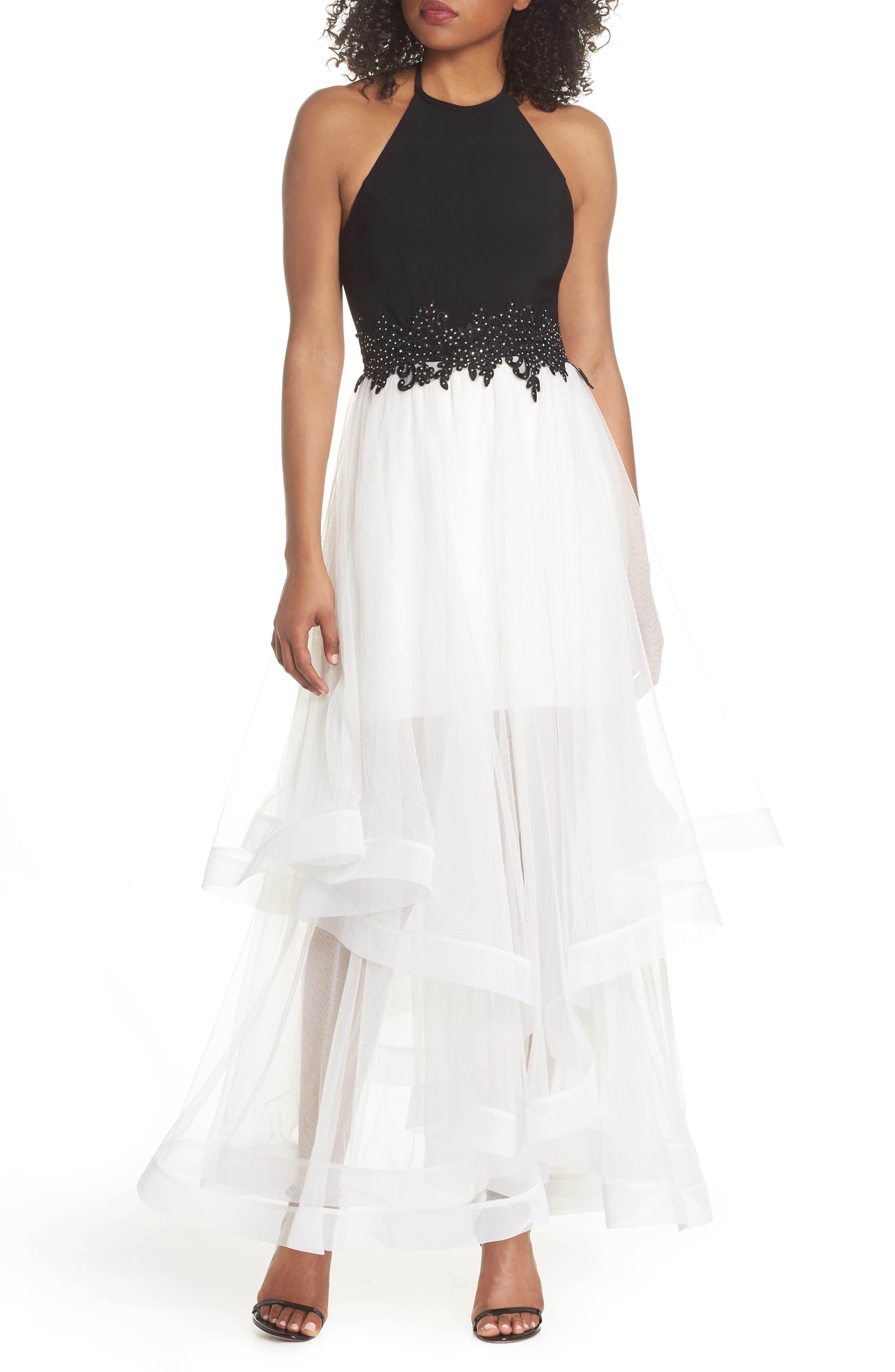 Appliqué Tiered Gown,                             Main thumbnail 1, color,                             Black/ Ivory