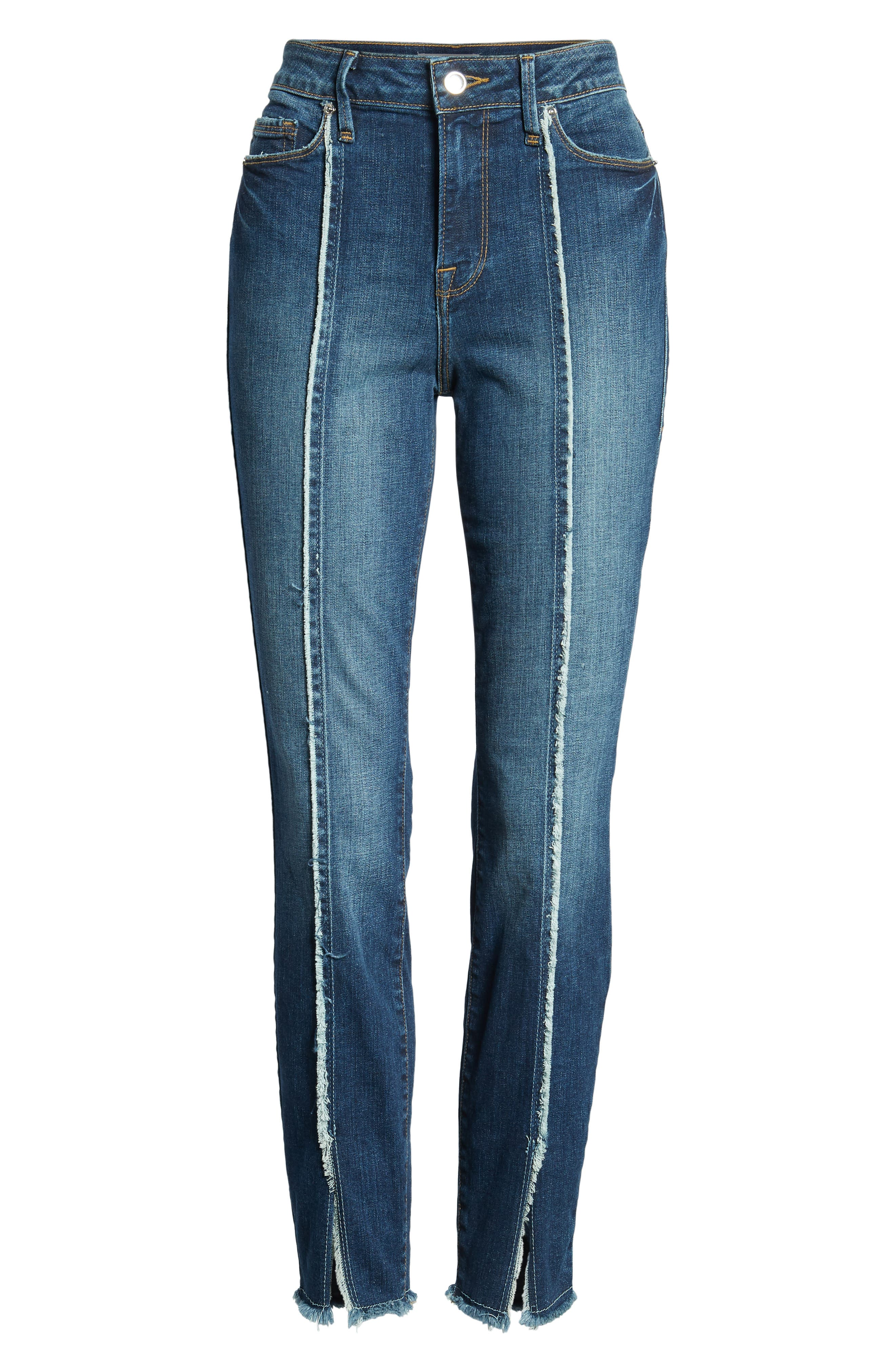 Good Jeans Raw Seam Crop Skinny Jeans,                             Alternate thumbnail 7, color,                             Blue135