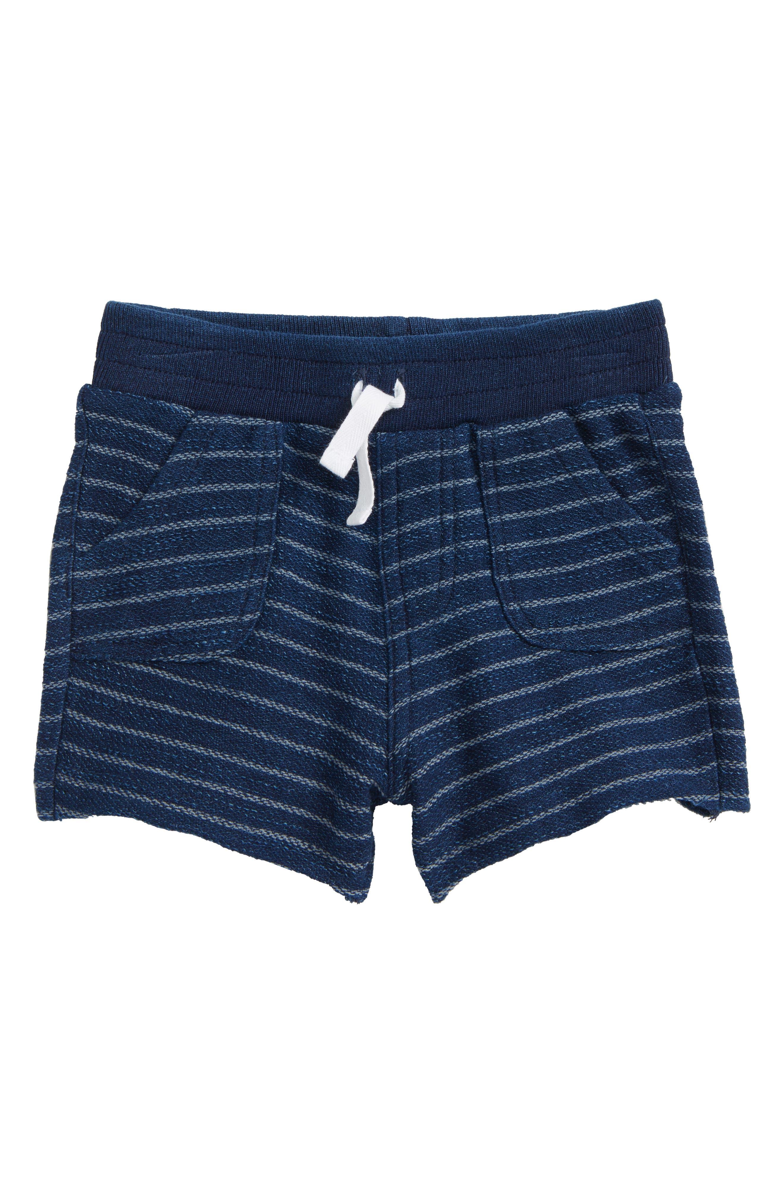 Indigo Stripe French Terry Shorts,                             Main thumbnail 1, color,                             Dark Stone/ Indigo