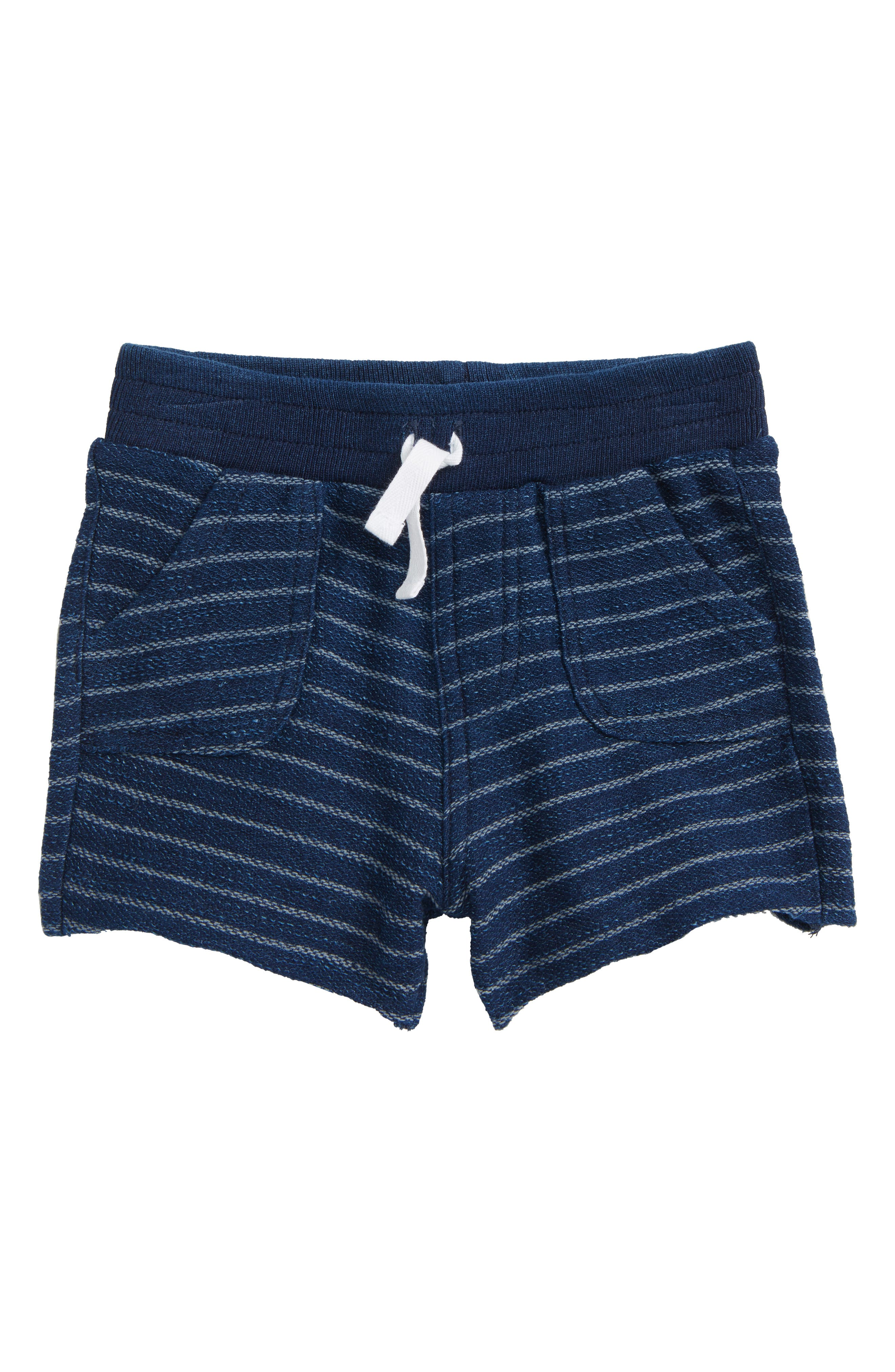 Indigo Stripe French Terry Shorts,                         Main,                         color, Dark Stone/ Indigo