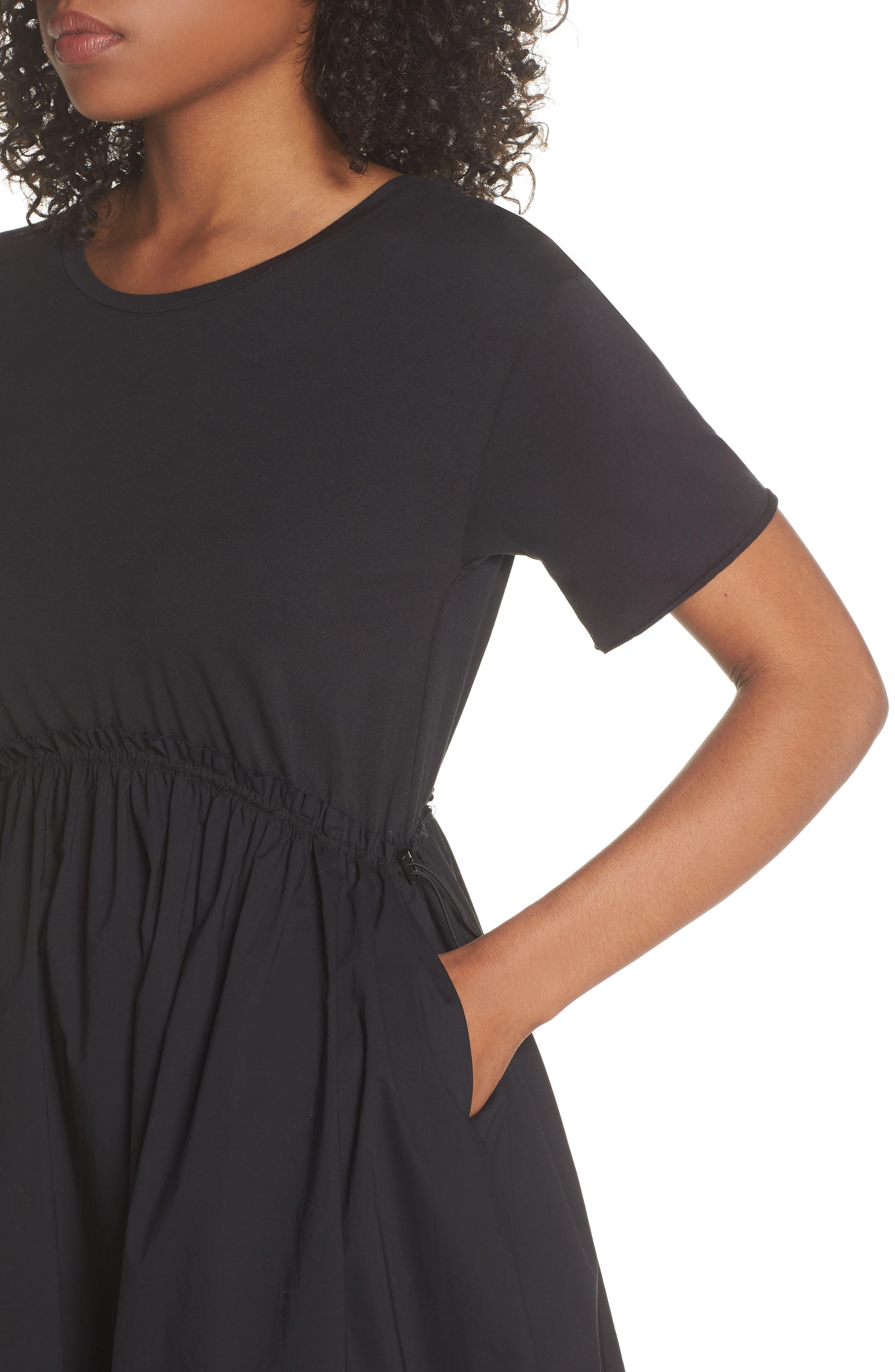 Tie Back Midi Dress,                             Alternate thumbnail 4, color,                             Black