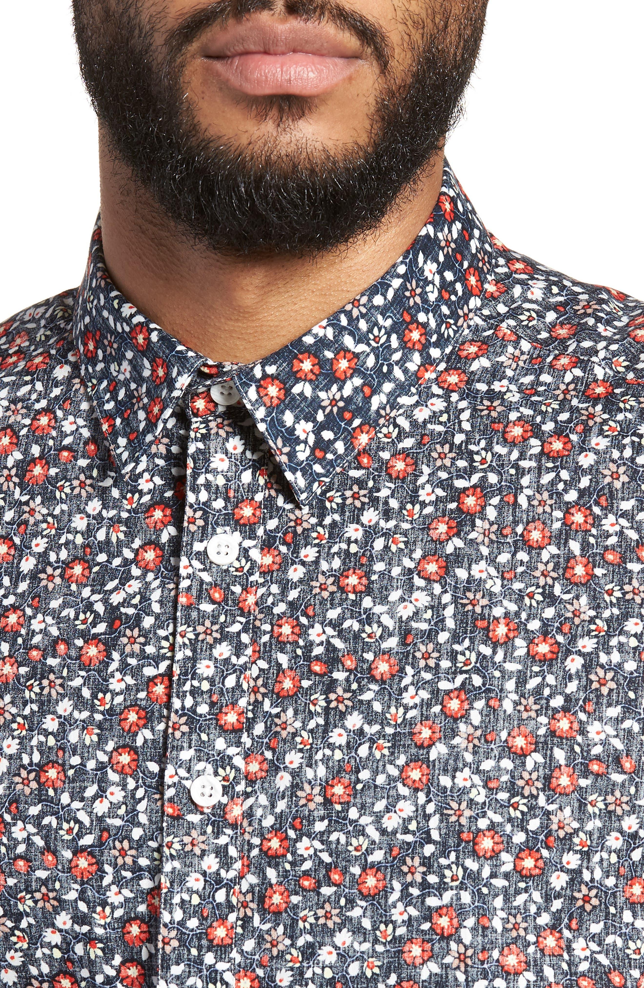 Trim Fit Print Woven Short Sleeve Shirt,                             Alternate thumbnail 4, color,                             Navy Floral