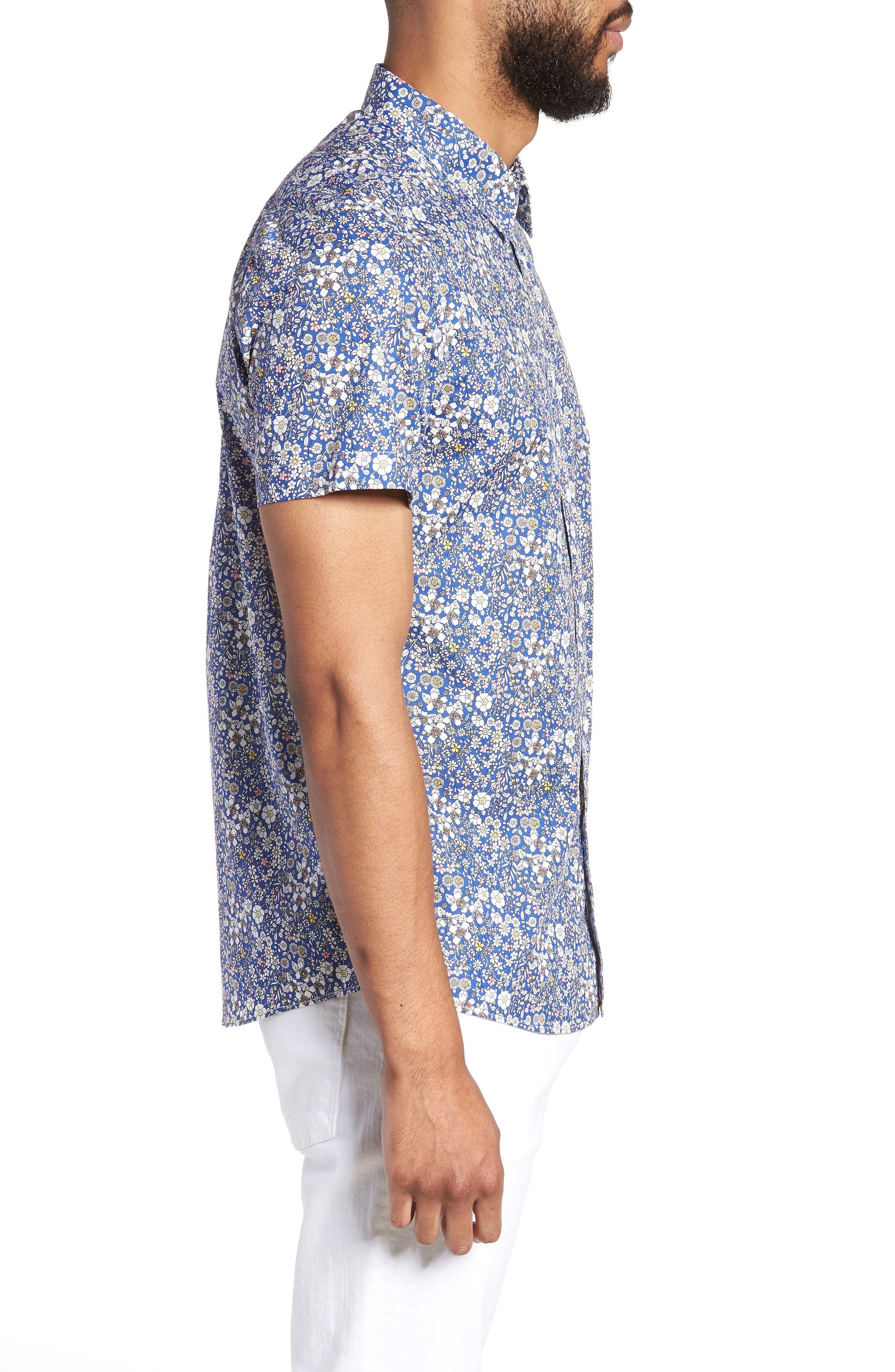 Trim Fit Print Woven Short Sleeve Shirt,                             Alternate thumbnail 3, color,                             Blue Pink Floral