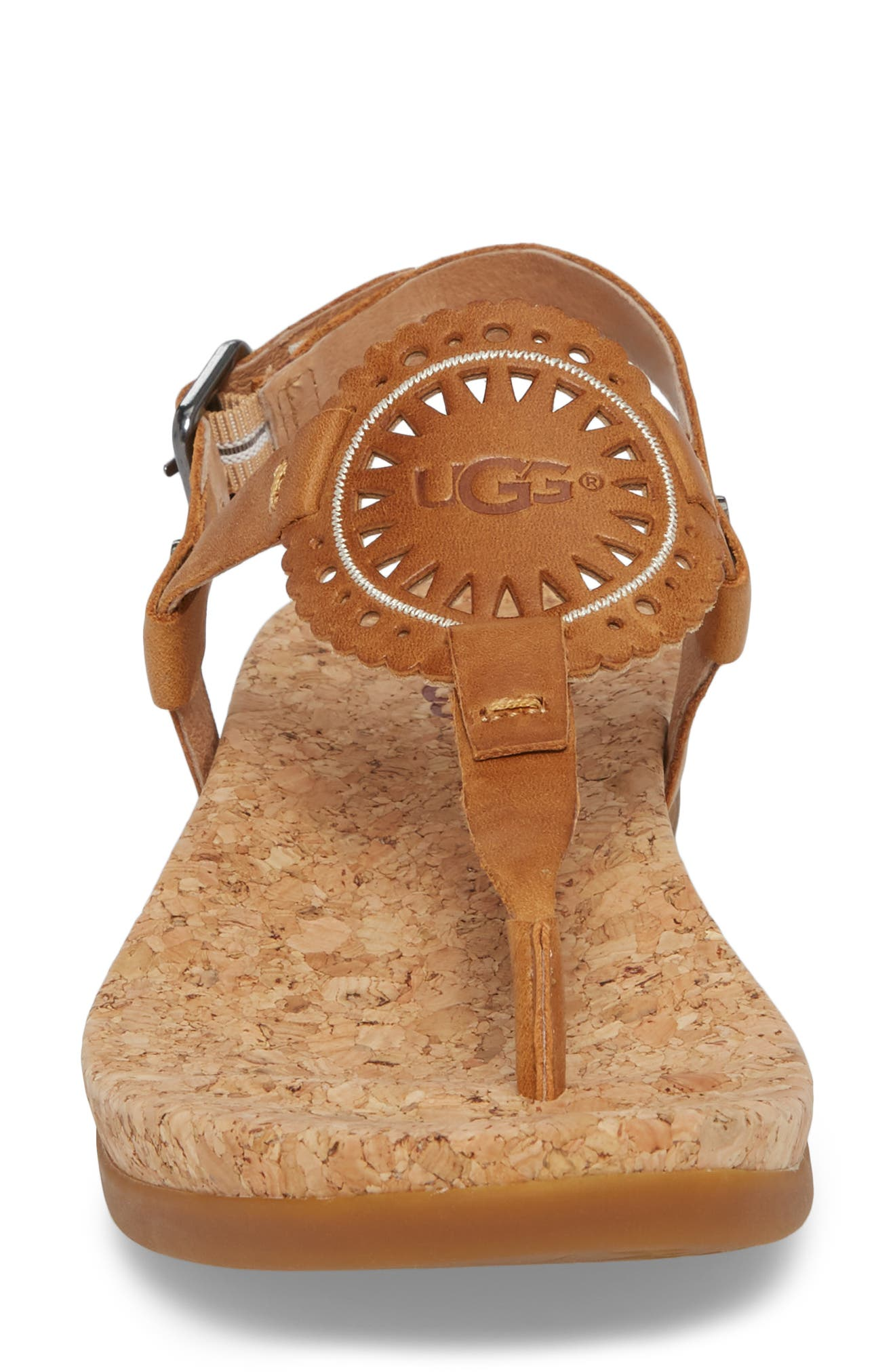 Ayden II T-Strap Sandal,                             Alternate thumbnail 4, color,                             Almond Leather