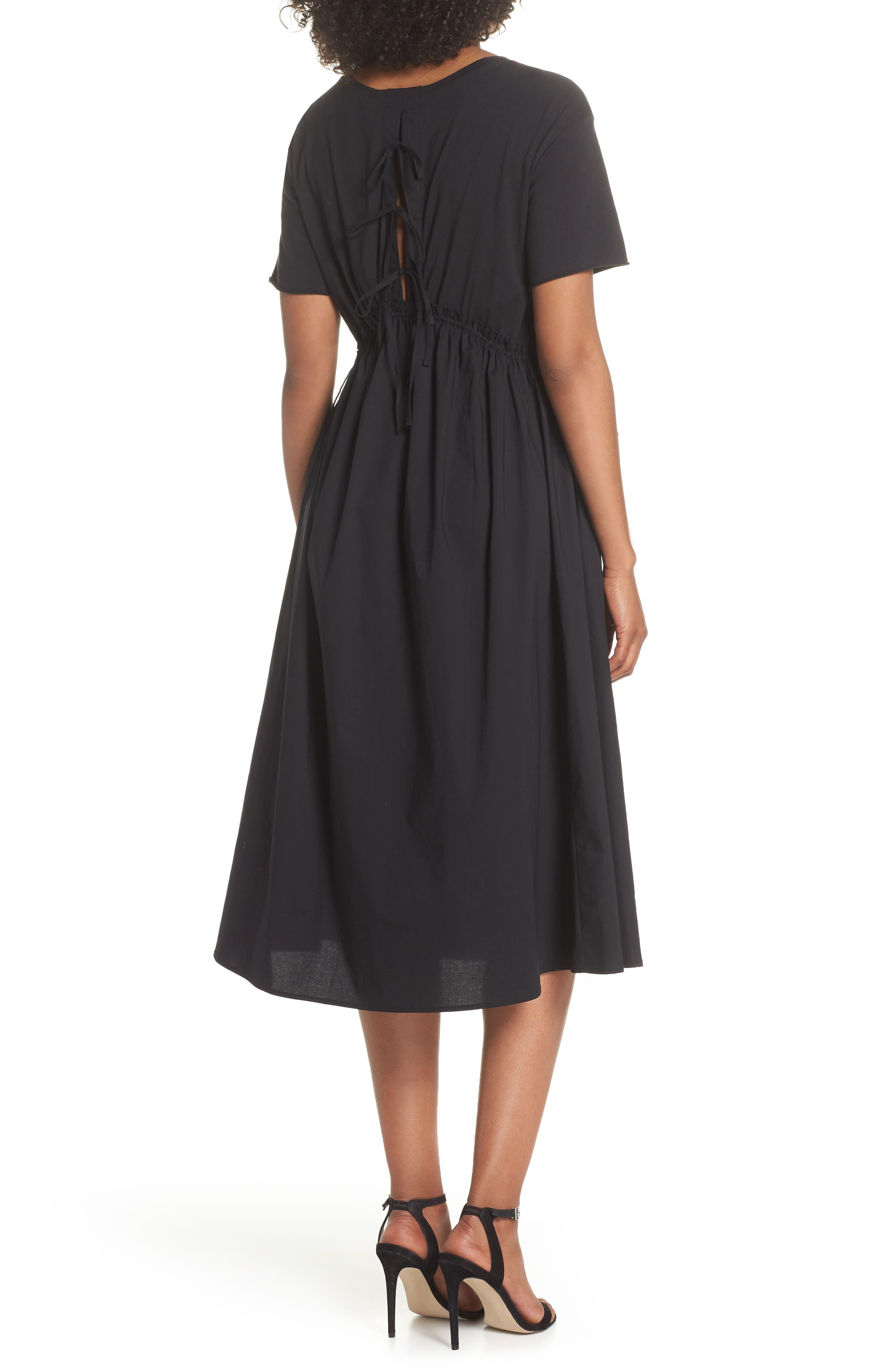Tie Back Midi Dress,                             Alternate thumbnail 2, color,                             Black