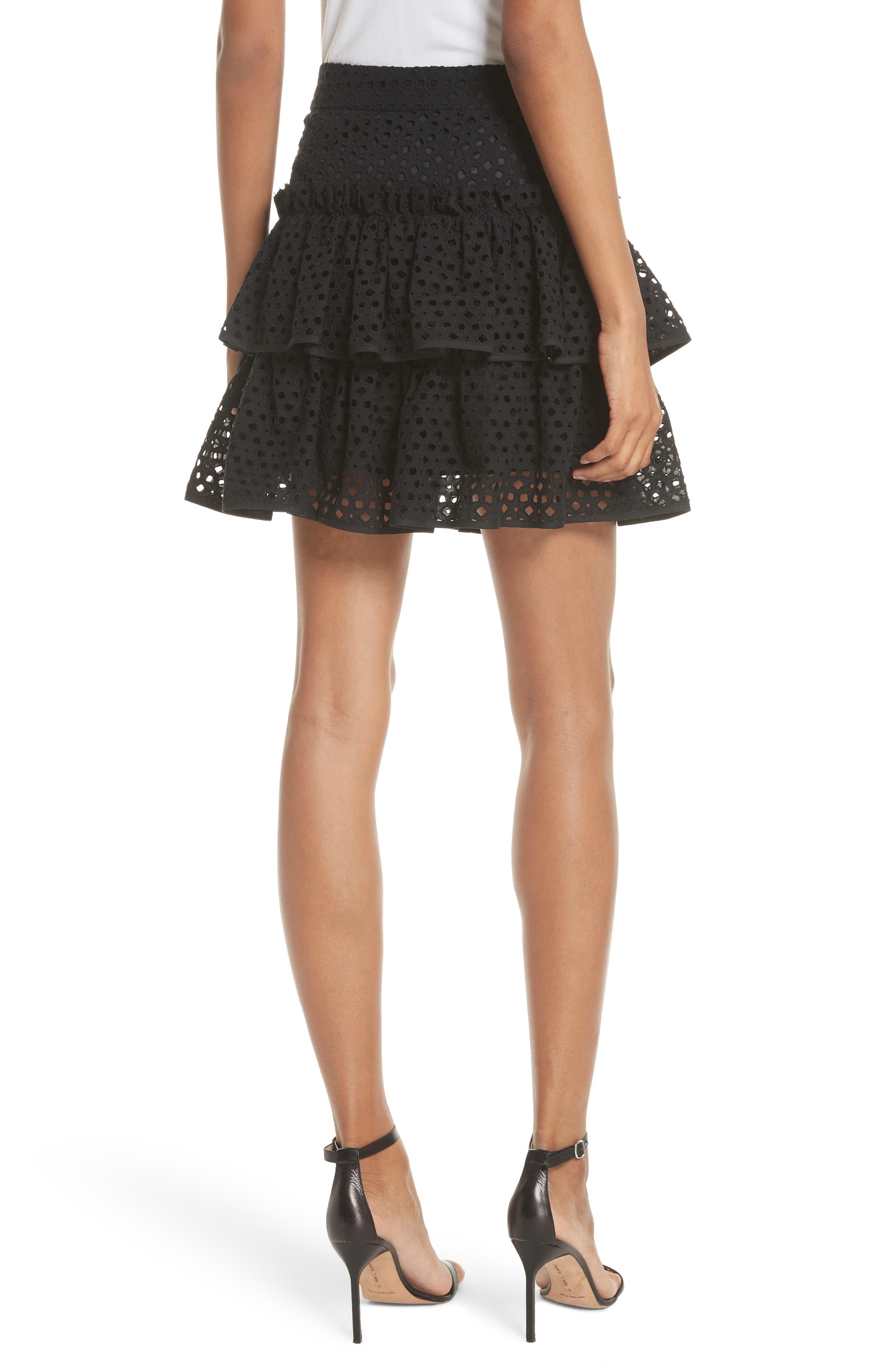 Floral Ruffle Tiered Cotton Eyelet Miniskirt,                             Alternate thumbnail 2, color,                             Black