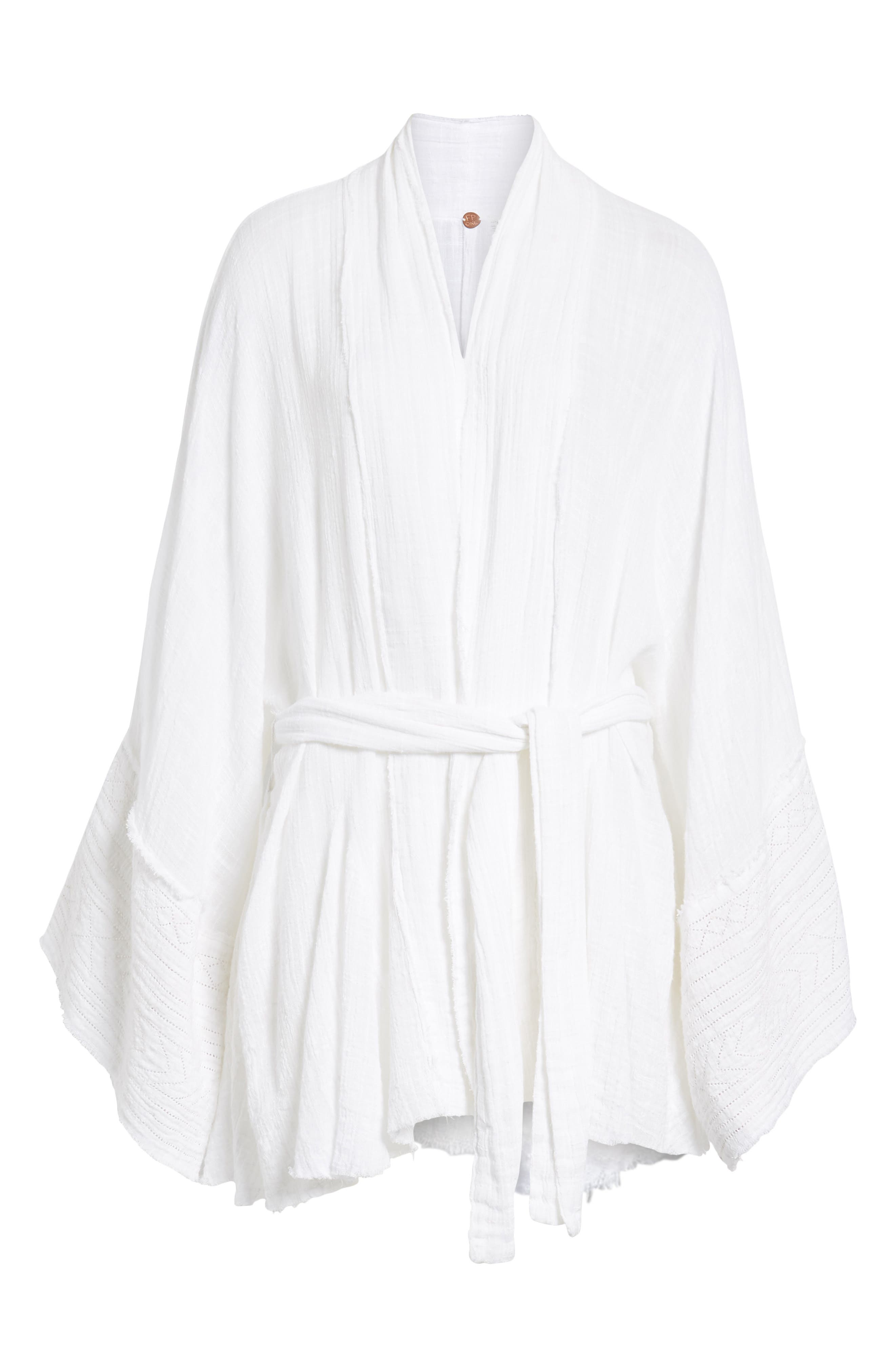 Tie Wrap Kimono,                             Alternate thumbnail 6, color,                             Ivory