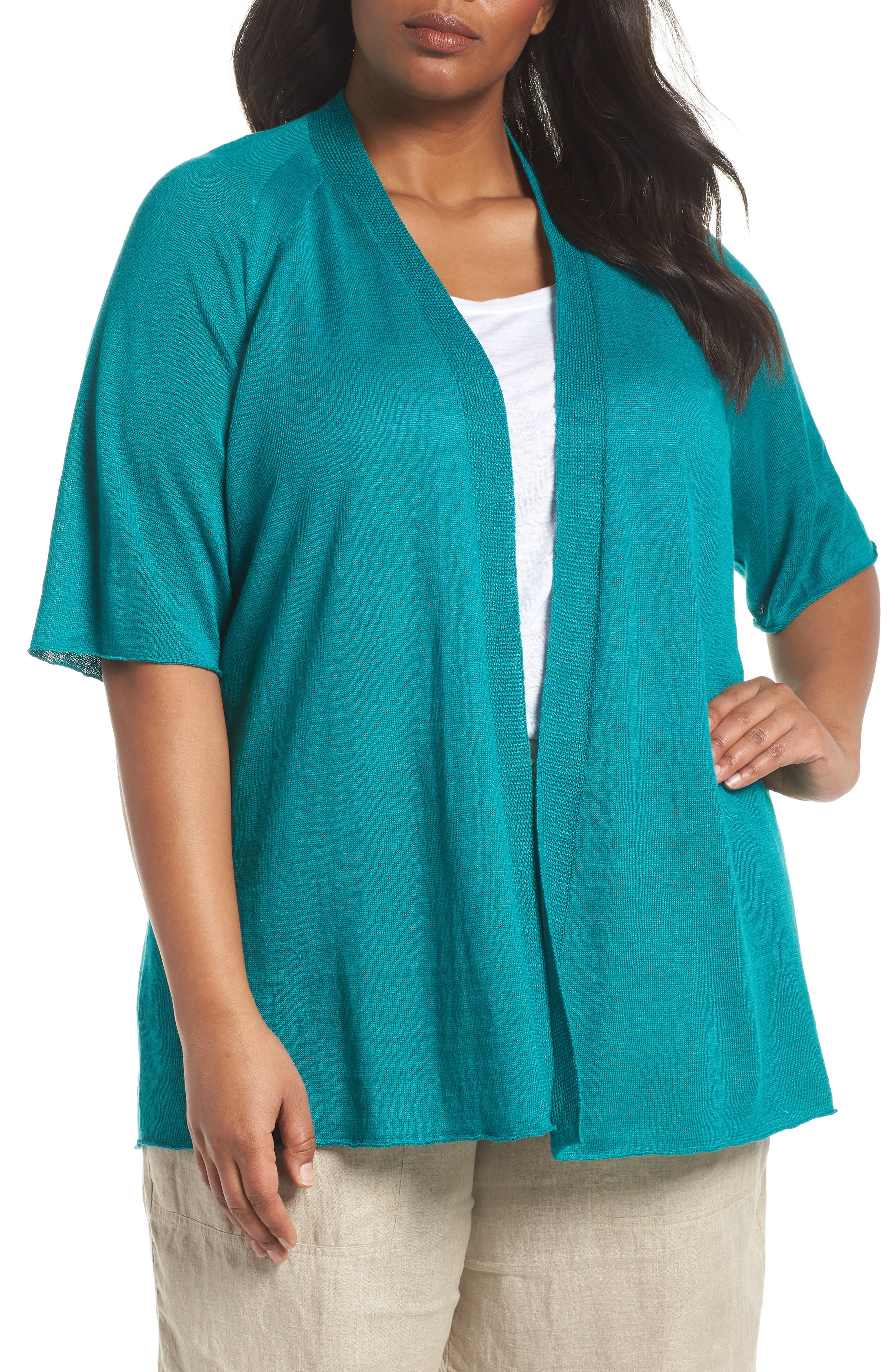 Organic Linen Cardigan,                         Main,                         color, Turquoise