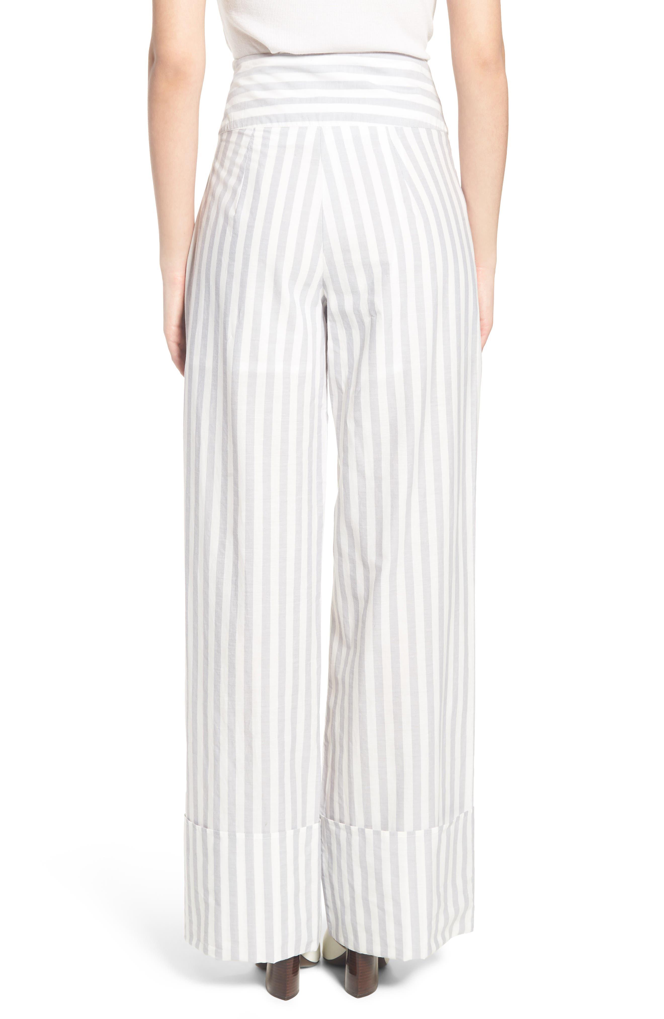 Wide Turn Up Stripe Trouser,                             Alternate thumbnail 3, color,                             Light Grey