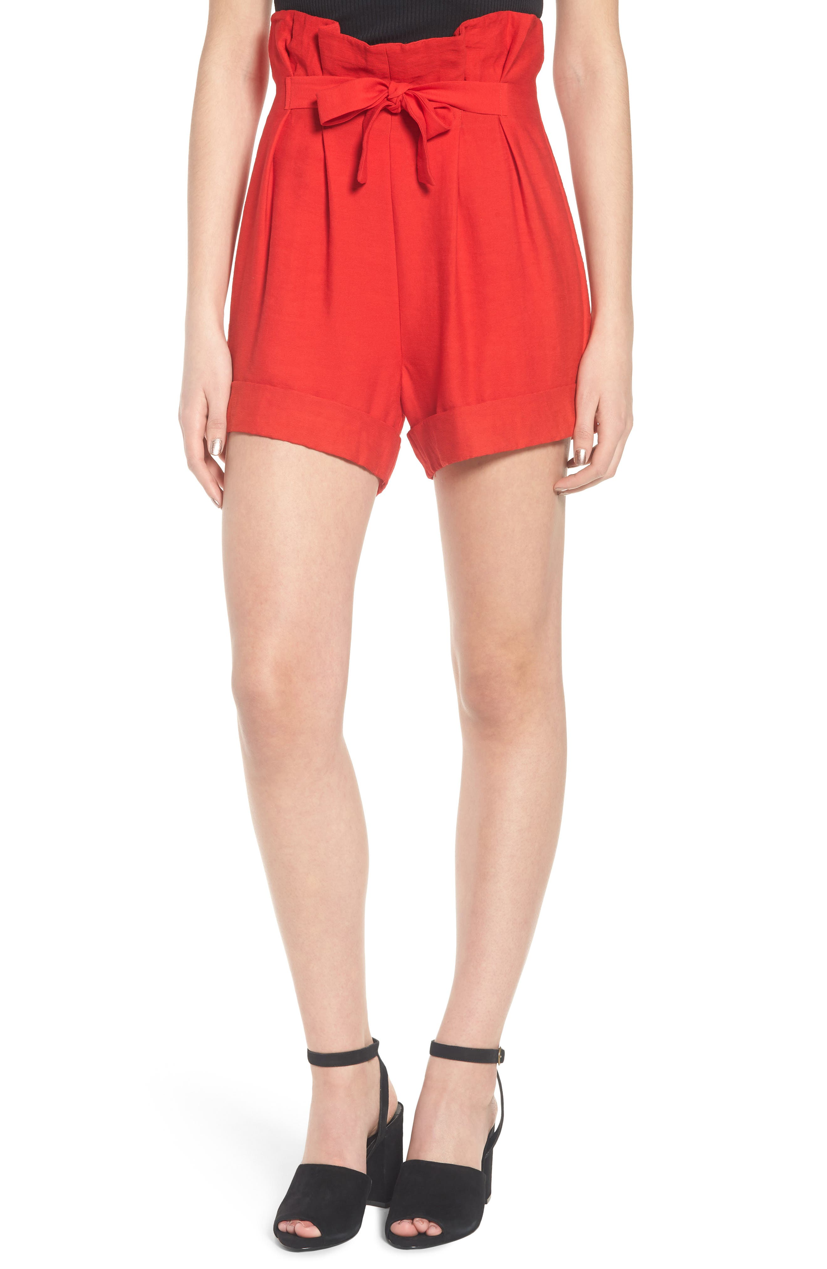 High Waist Short with Tie Detail,                             Main thumbnail 1, color,                             Red