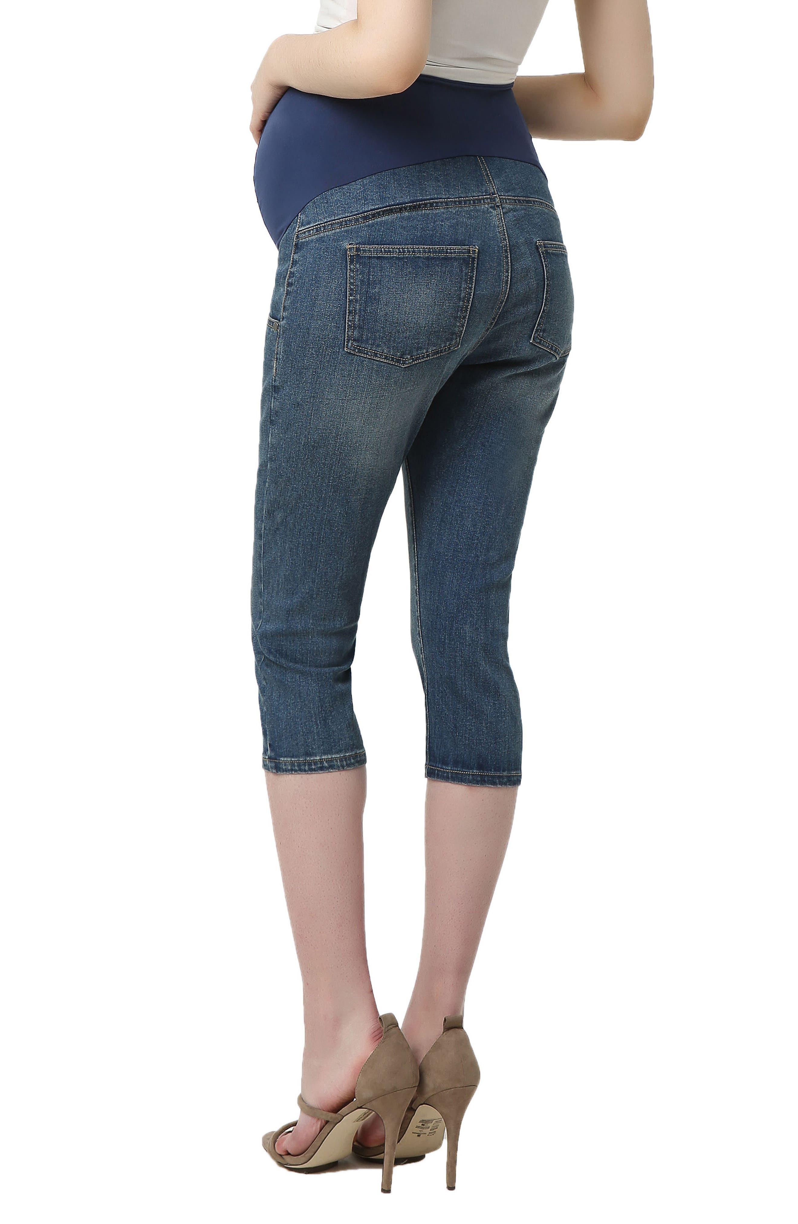 Courtney Capri Maternity Skinny Jeans,                             Alternate thumbnail 2, color,                             Medium Indigo
